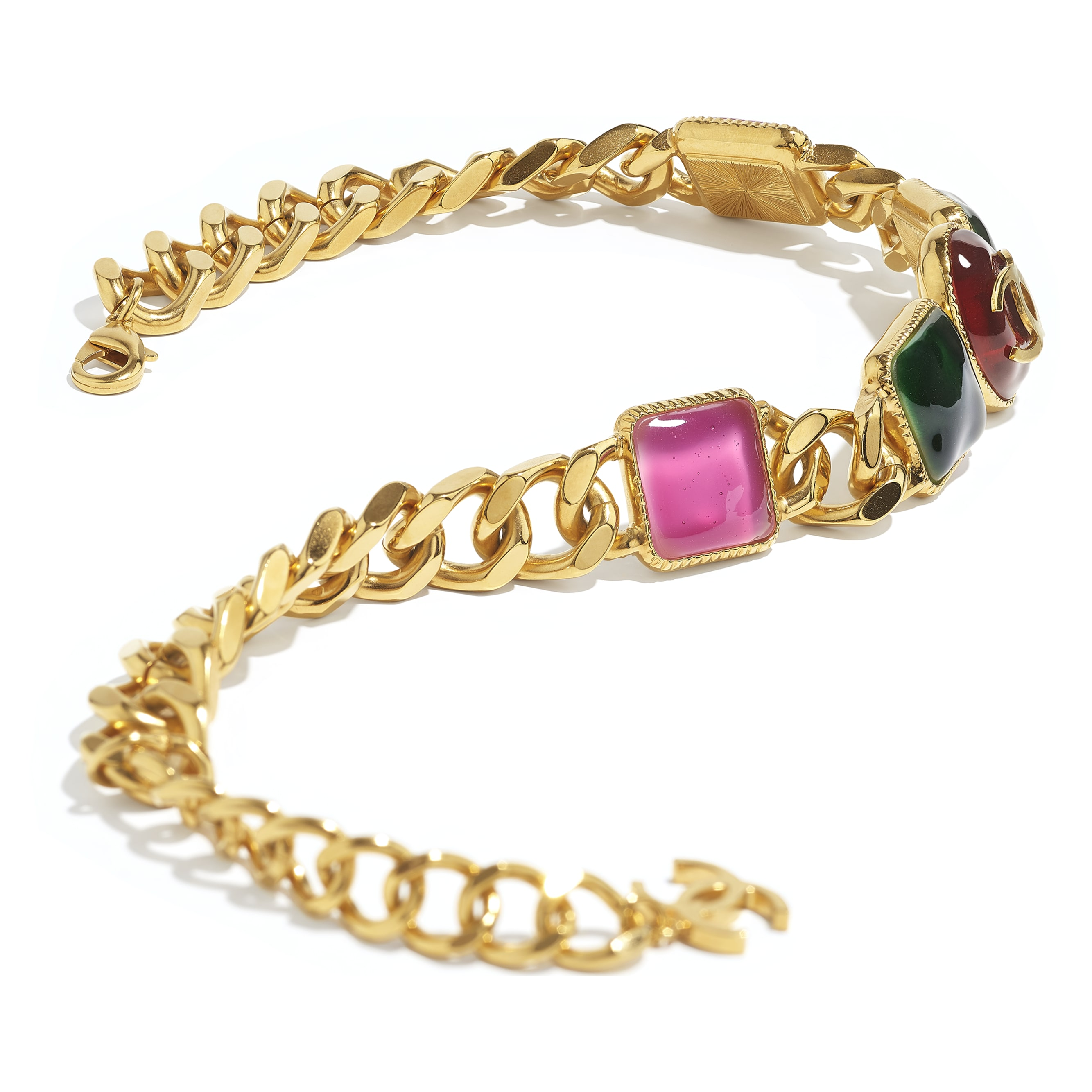Necklace - Gold, Green, Burgundy & Pink - Metal & Resin - CHANEL - Alternative view - see standard sized version