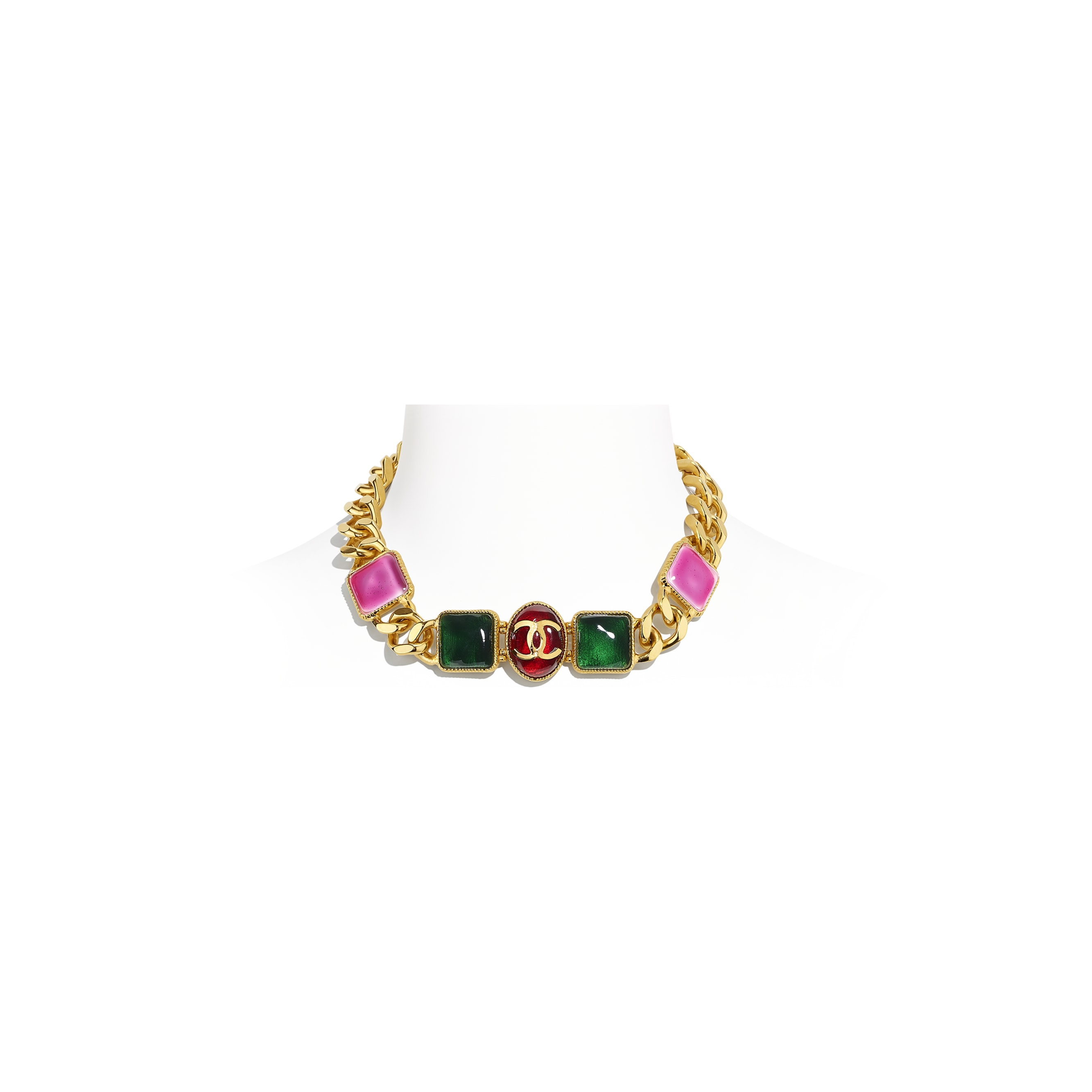 Necklace - Gold, Green, Burgundy & Pink - Metal & Resin - CHANEL - Default view - see standard sized version