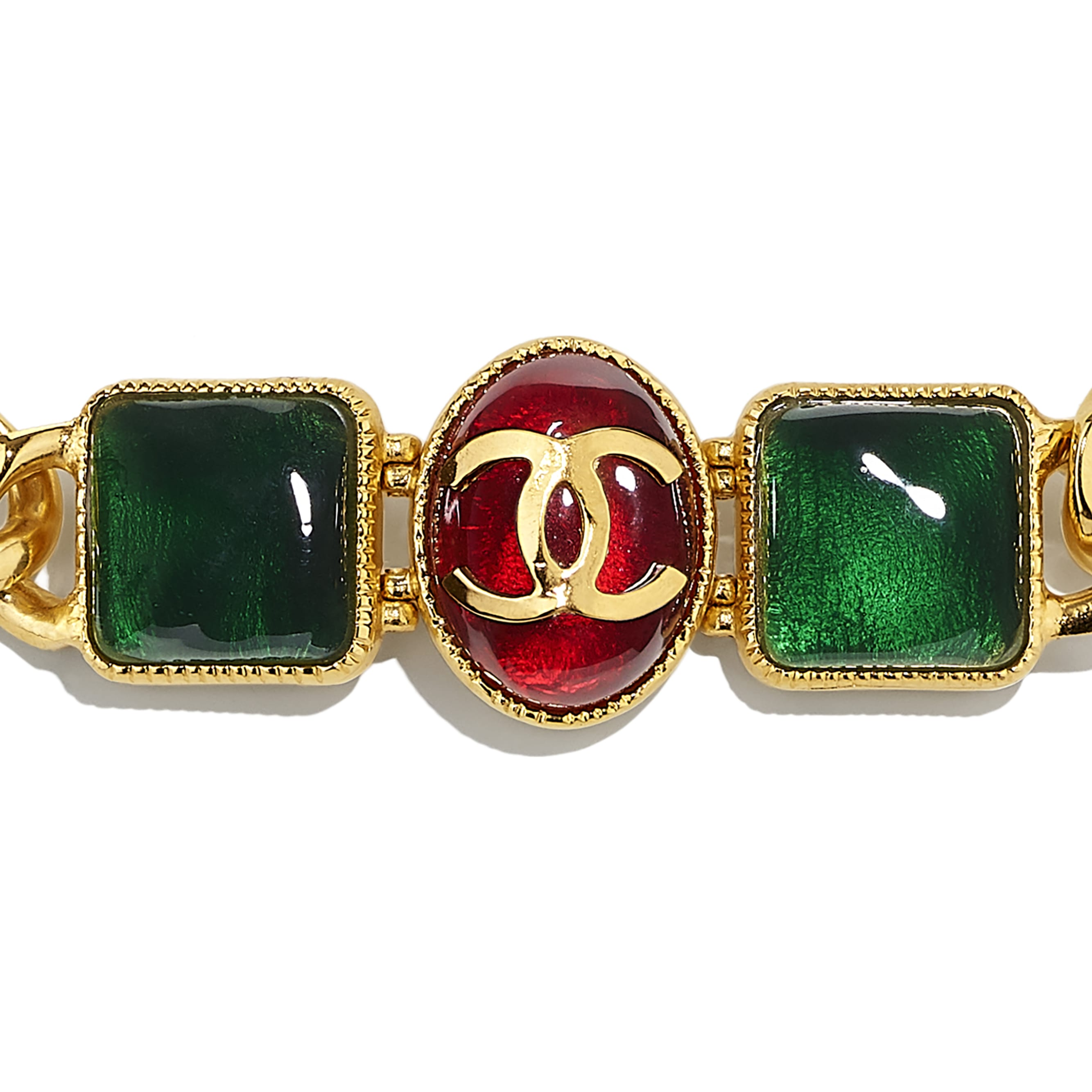 Halskette - Goldfarben, Grün, Bordeaux & Rosa - Metall & Harz - CHANEL - Weitere Ansicht - Standardgröße anzeigen