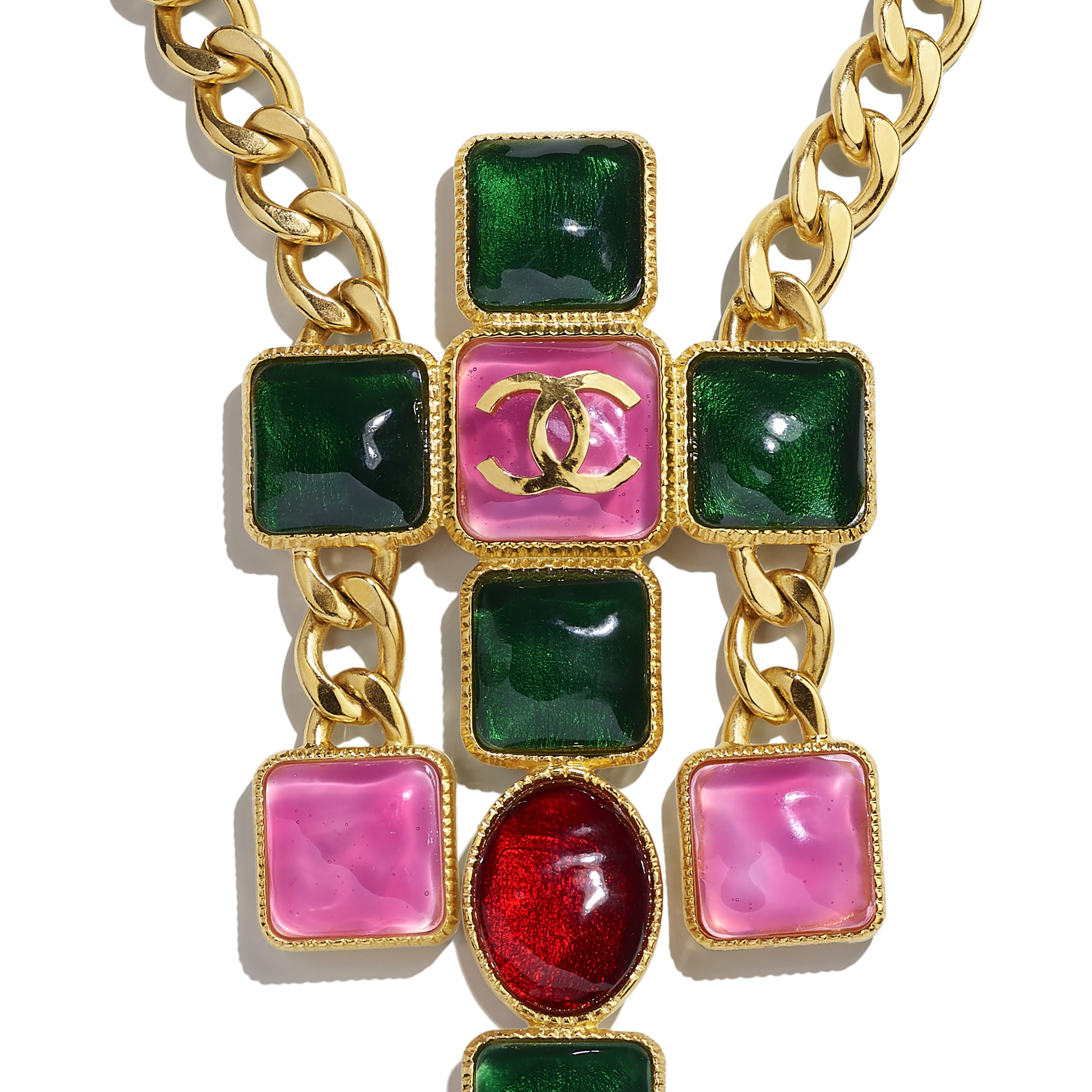 Necklace - Gold, Green, Burgundy & Pink - Metal & Resin - CHANEL - Other view - see standard sized version