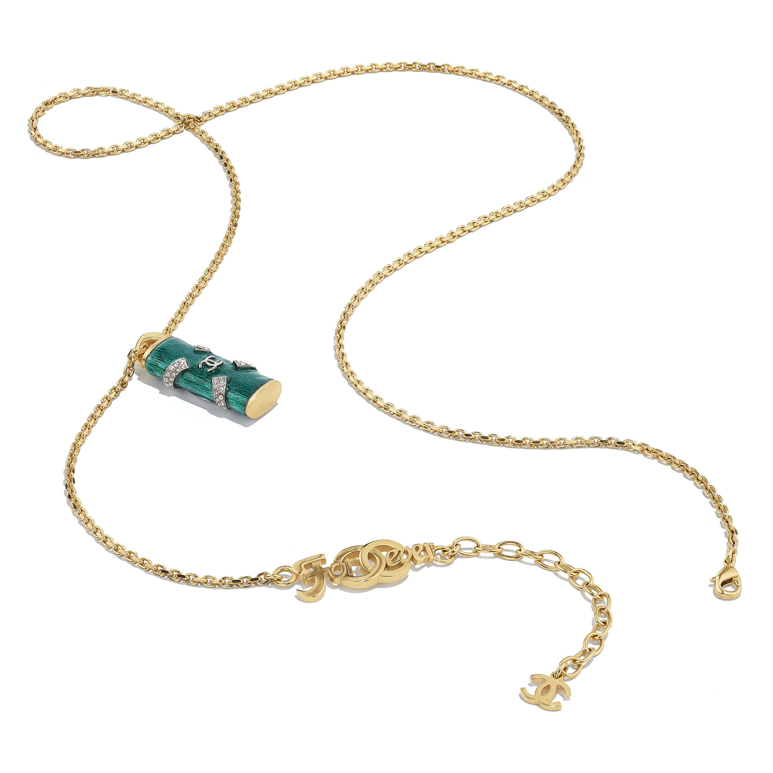 Necklace - Gold, Green & Crystal - Metal & Strass - CHANEL - Alternative view - see standard sized version
