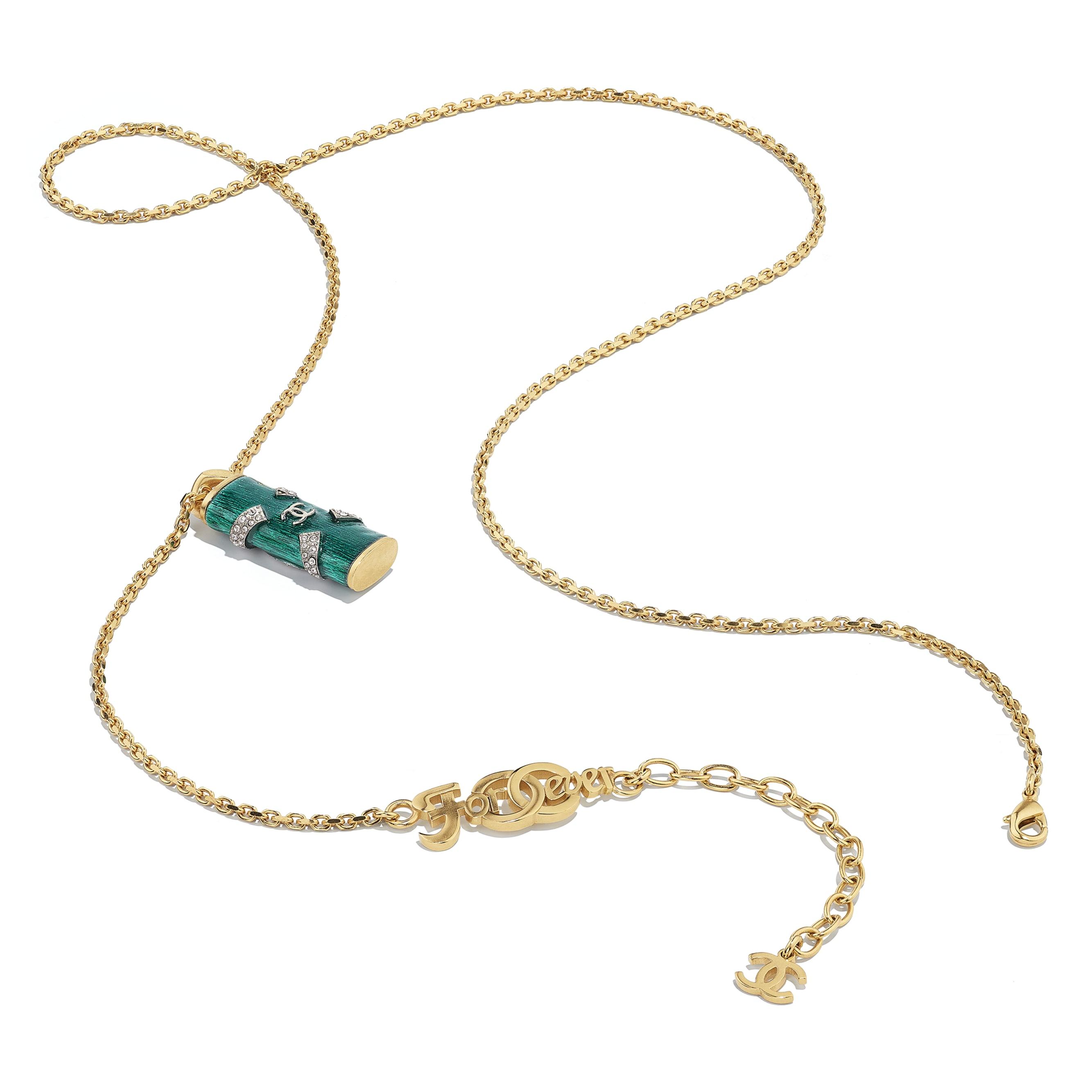 Collana - Oro, verde & cristallo - Metallo & strass - CHANEL - Immagine diversa - vedere versione standard