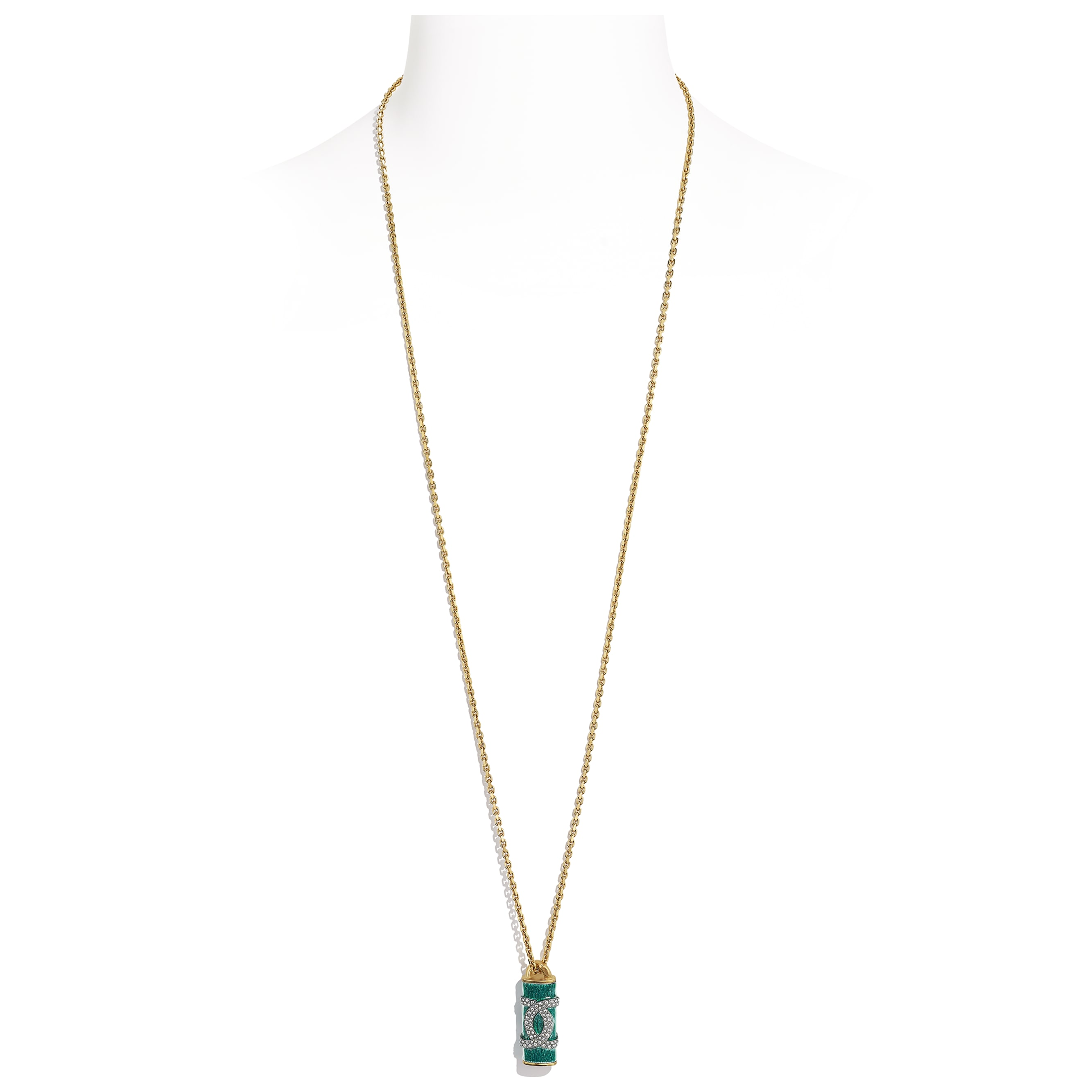 Necklace - Gold, Green & Crystal - Metal & Diamantés - CHANEL - Default view - see standard sized version
