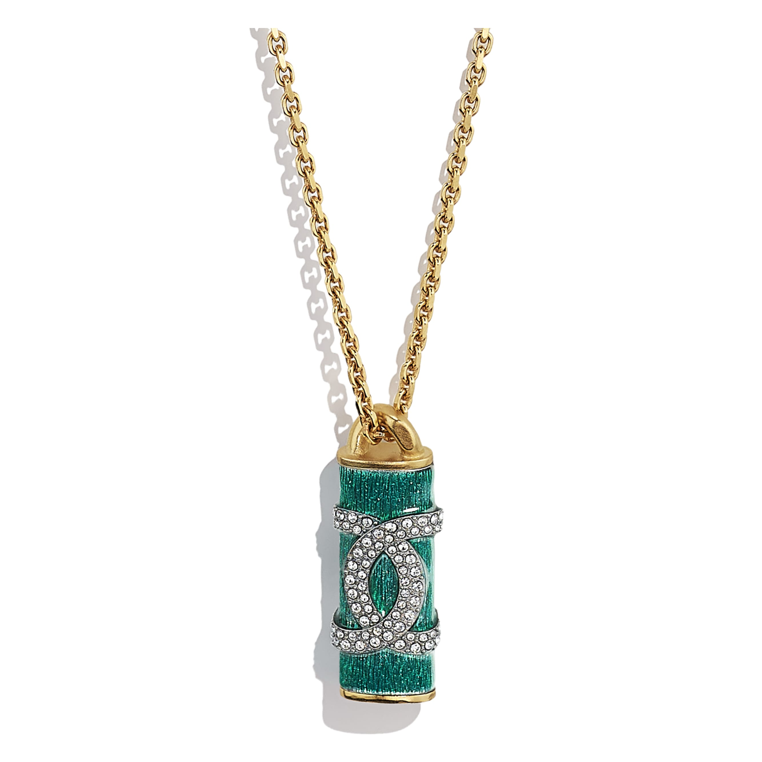 Necklace - Gold, Green & Crystal - Metal & Strass - CHANEL - Other view - see standard sized version