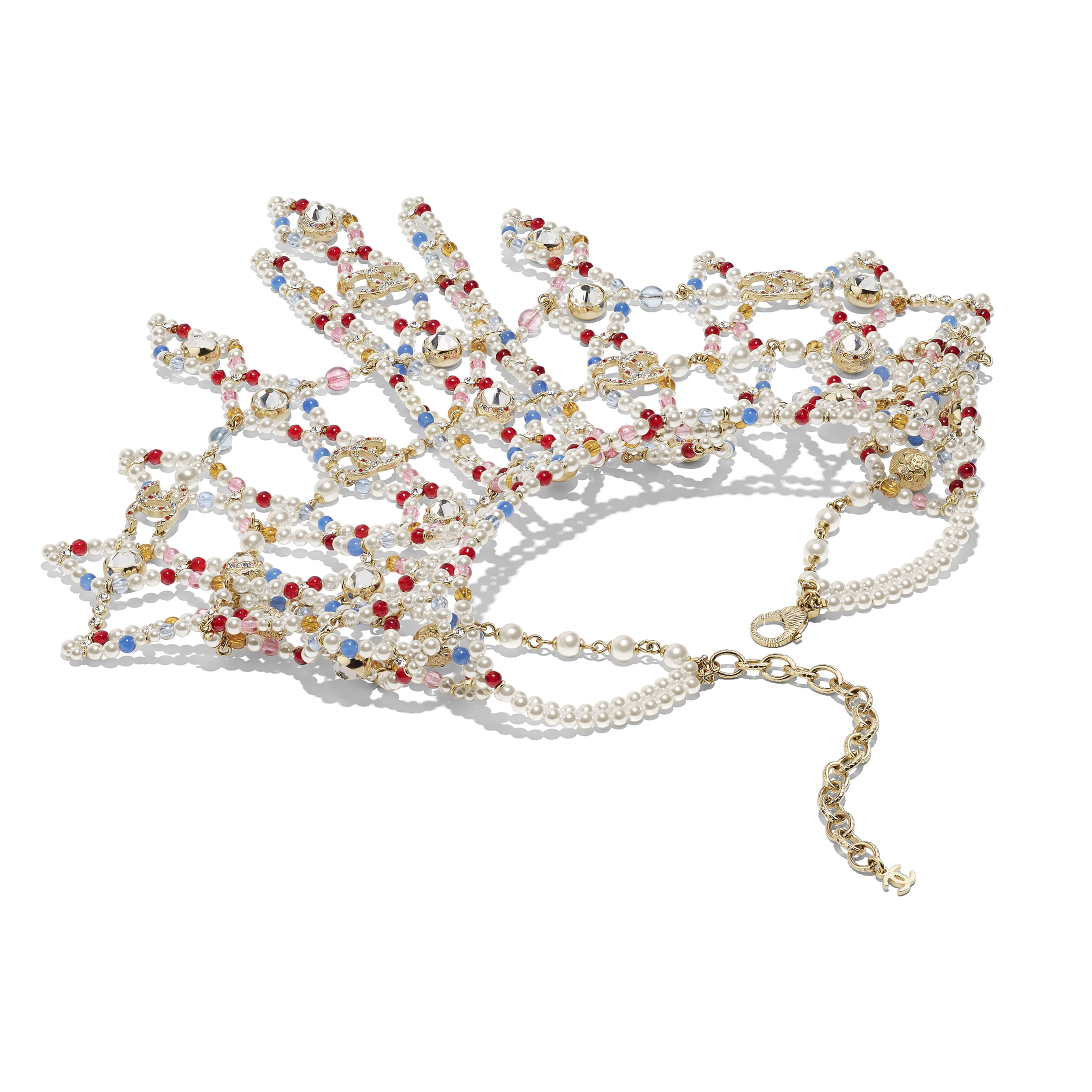 Halskette - Goldfarben, mehrfarbig, Perlmuttweiß & Kristall - Metall, Natursteine, Glasperlen & Strass - Alternative Ansicht - Standardgröße anzeigen