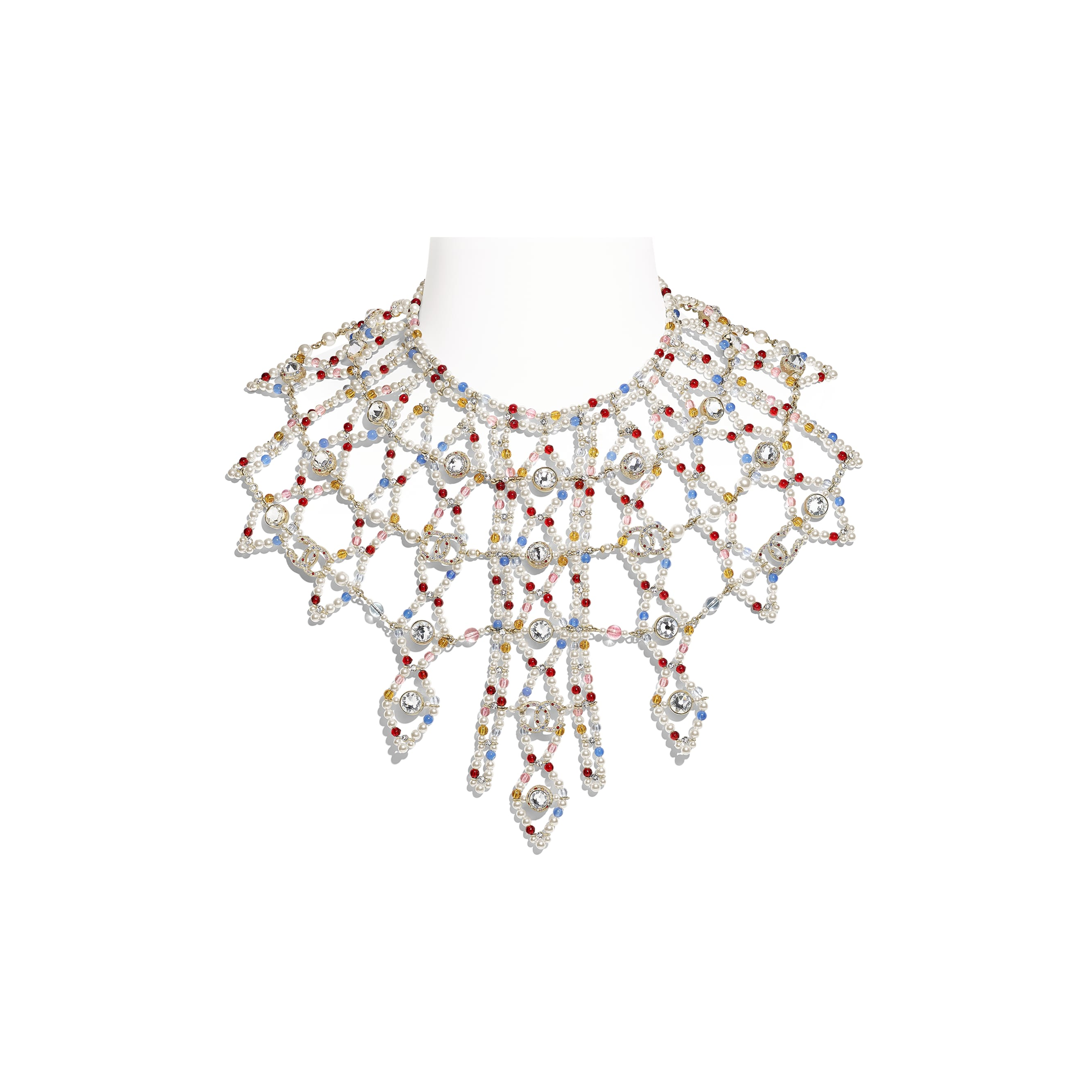 Necklace - Gold, Multicolor, Pearly White & Crystal - Metal, Natural Stones, Glass Pearls & Strass - Default view - see standard sized version