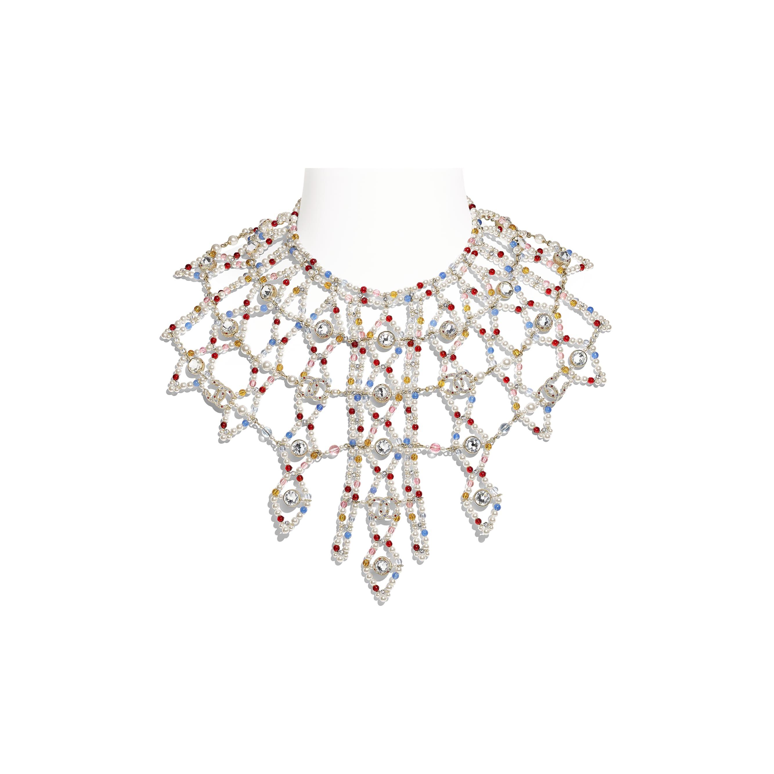 Halskette - Goldfarben, mehrfarbig, Perlmuttweiß & Kristall - Metall, Natursteine, Glasperlen & Strass - Standardansicht - Standardgröße anzeigen