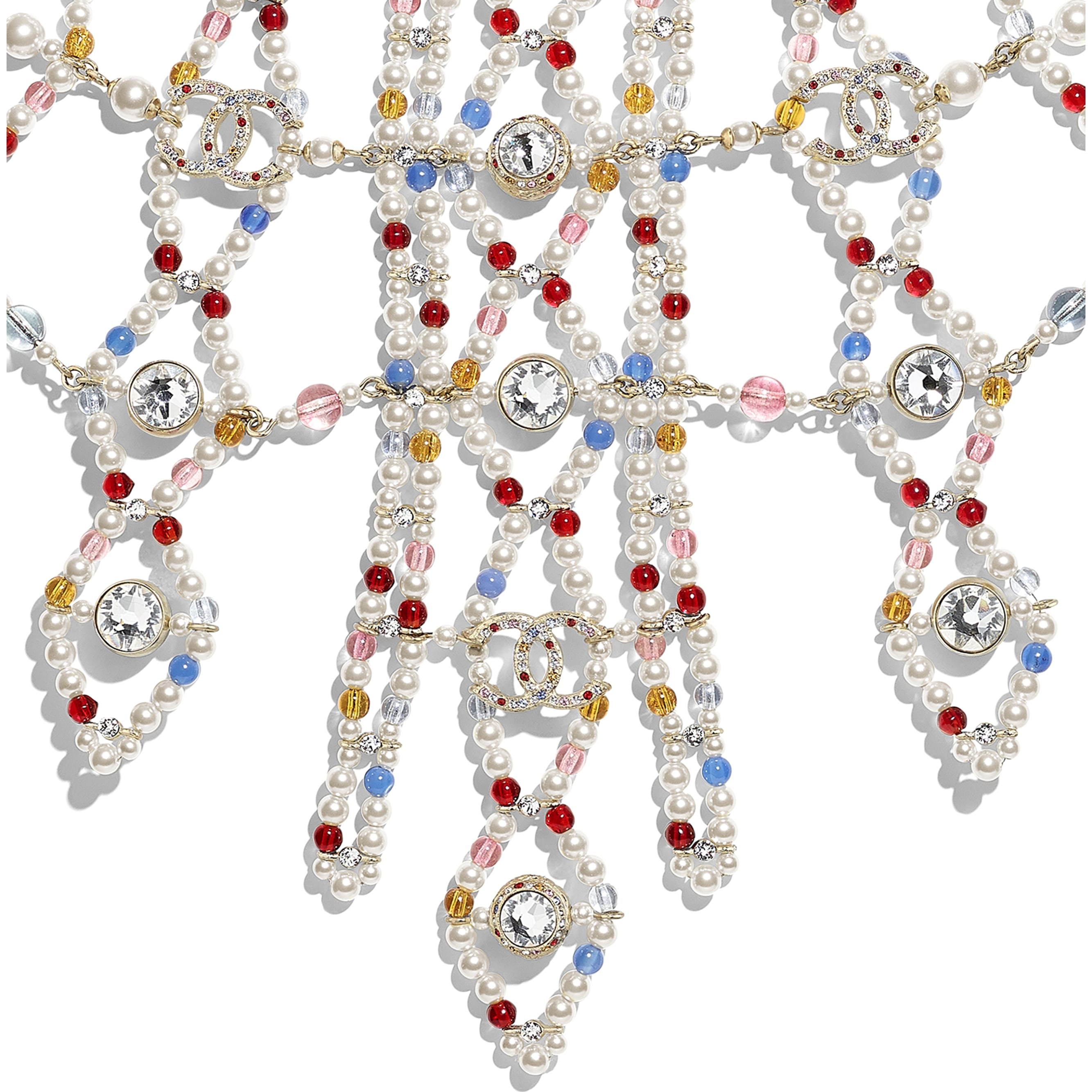 Necklace - Gold, Multicolor, Pearly White & Crystal - Metal, Natural Stones, Glass Pearls & Strass - Other view - see standard sized version