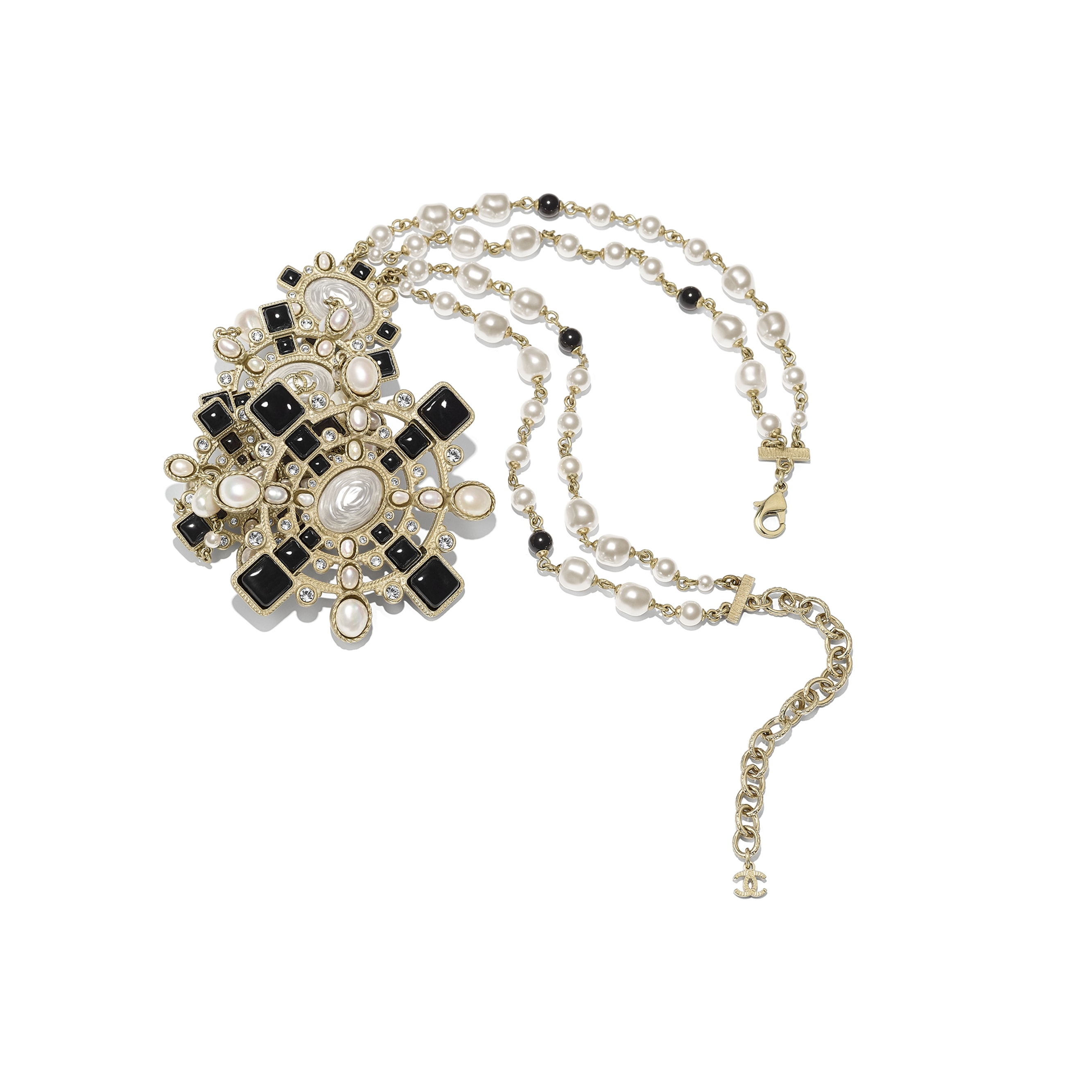Necklace - Gold, Pearly White, Black & Crystal - Metal, Cultured Fresh Water Pearls, Glass Pearls, Diamanté & Resin - Alternative view - see standard sized version