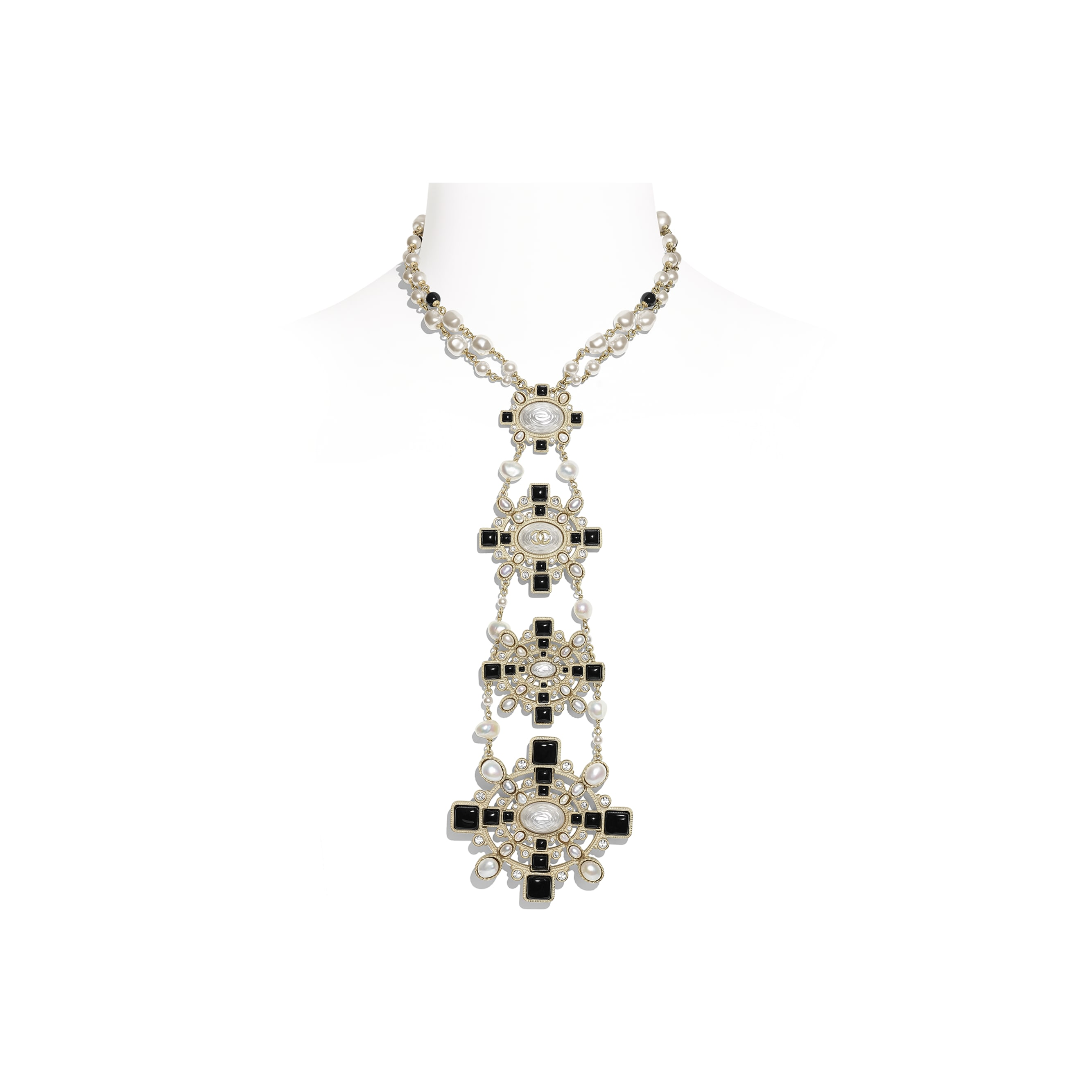 Necklace - Gold, Pearly White, Black & Crystal - Metal, Cultured Fresh Water Pearls, Glass Pearls, Diamanté & Resin - Default view - see standard sized version