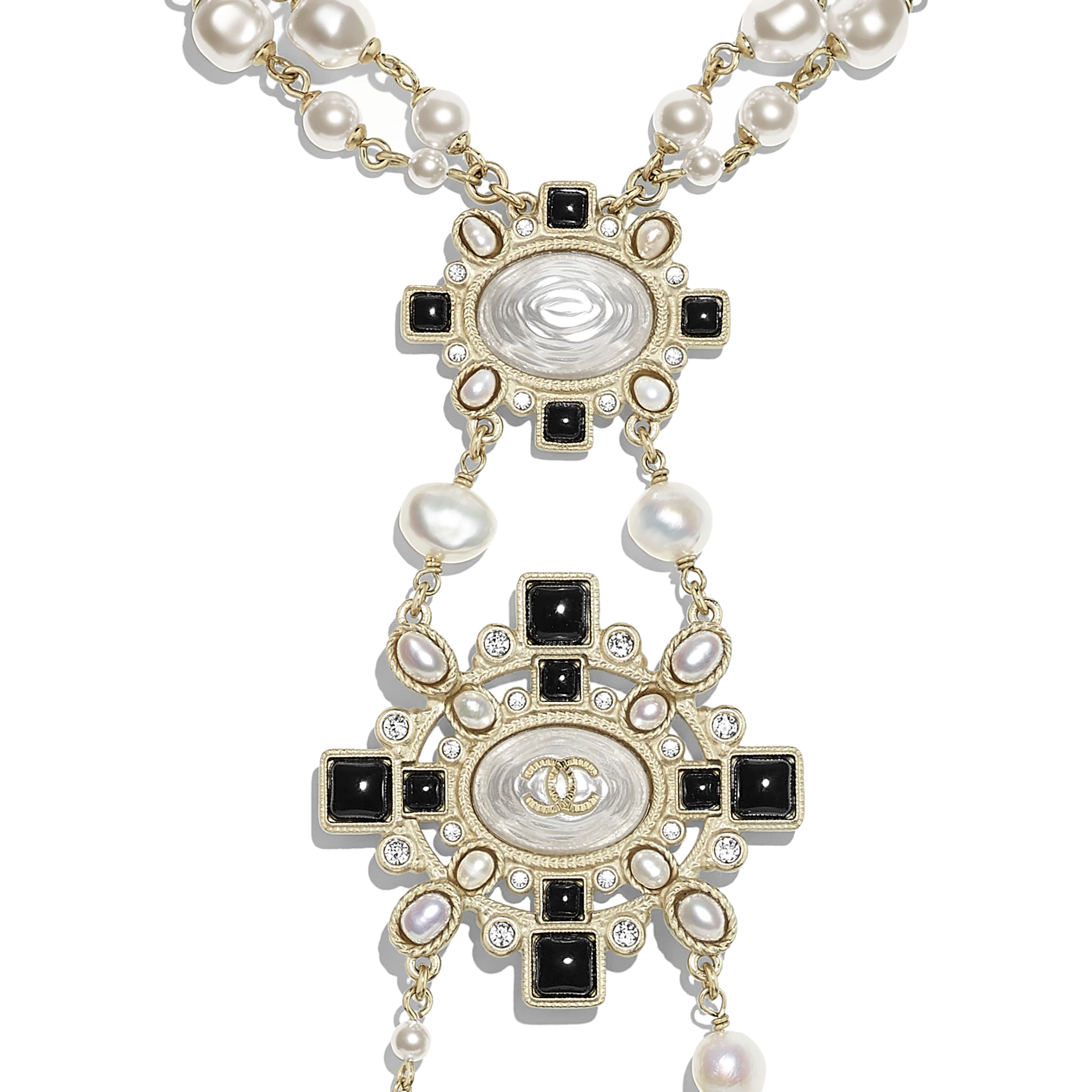 Necklace - Gold, Pearly White, Black & Crystal - Metal, Cultured Fresh Water Pearls, Glass Pearls, Diamanté & Resin - Other view - see standard sized version