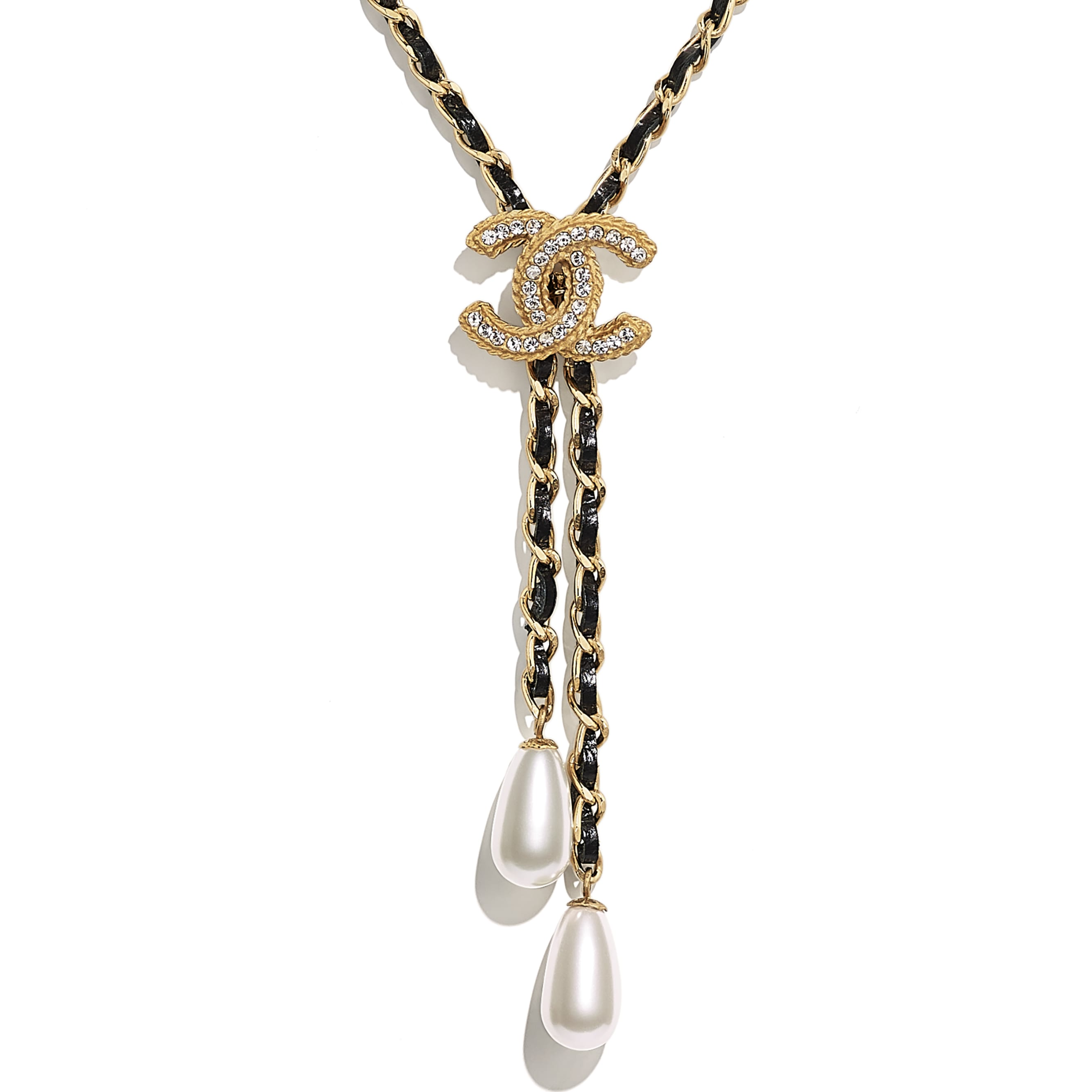 Necklace - Gold, Pearly White, Black & Crystal - Metal, glass pearls, calfskin & diamanté - Other view - see standard sized version