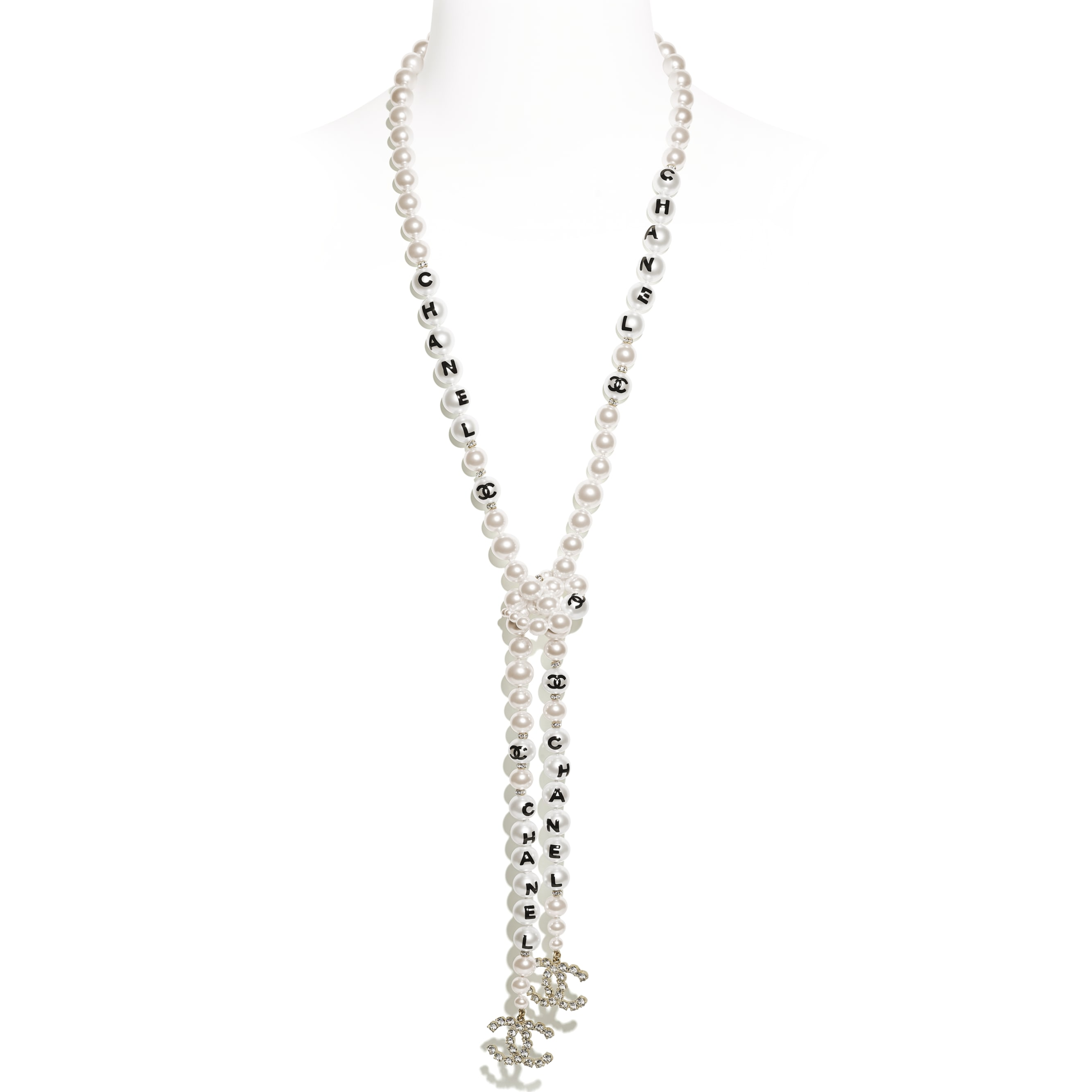 Necklace - Gold, Pearly White, Black & Crystal - Metal, Glass Pearls, Imitation Pearls & Diamanté - Default view - see standard sized version