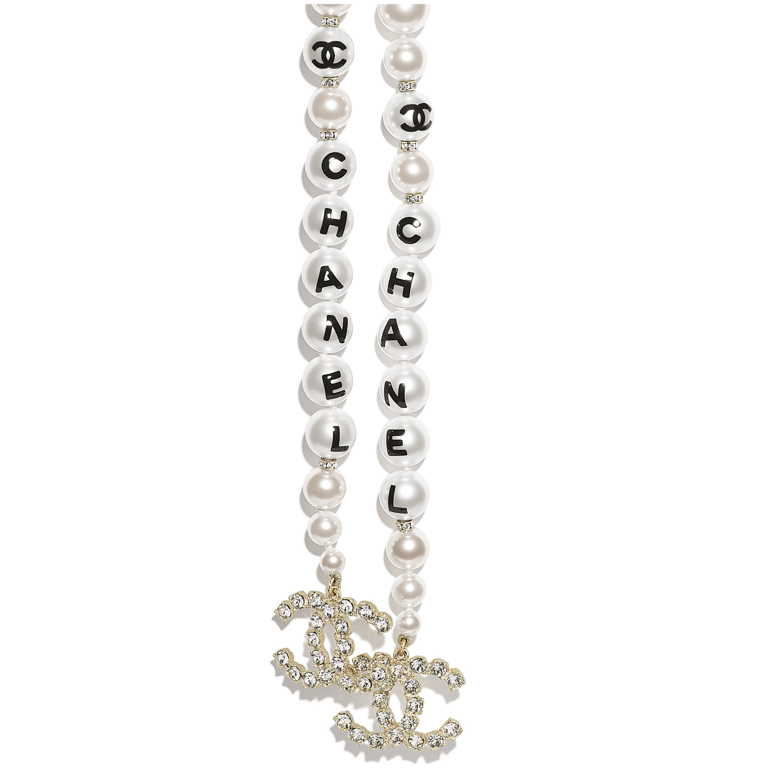 Necklace - Gold, Pearly White, Black & Crystal - Metal, Glass Pearls, Imitation Pearls & Diamanté - Other view - see standard sized version