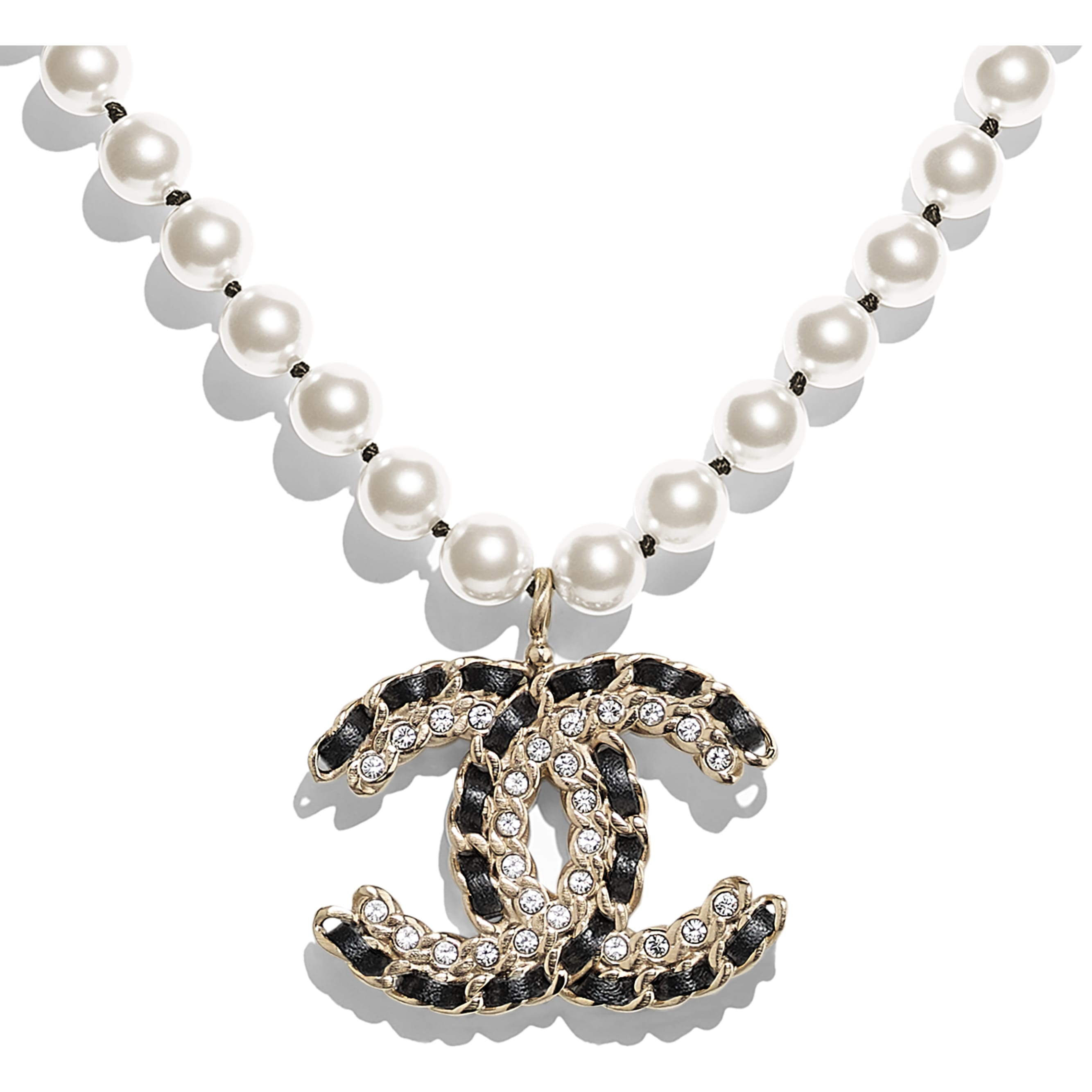 Necklace - Gold, Pearly White, Black & Crystal - Metal, Glass Pearls, Lambskin & Strass - Other view - see standard sized version