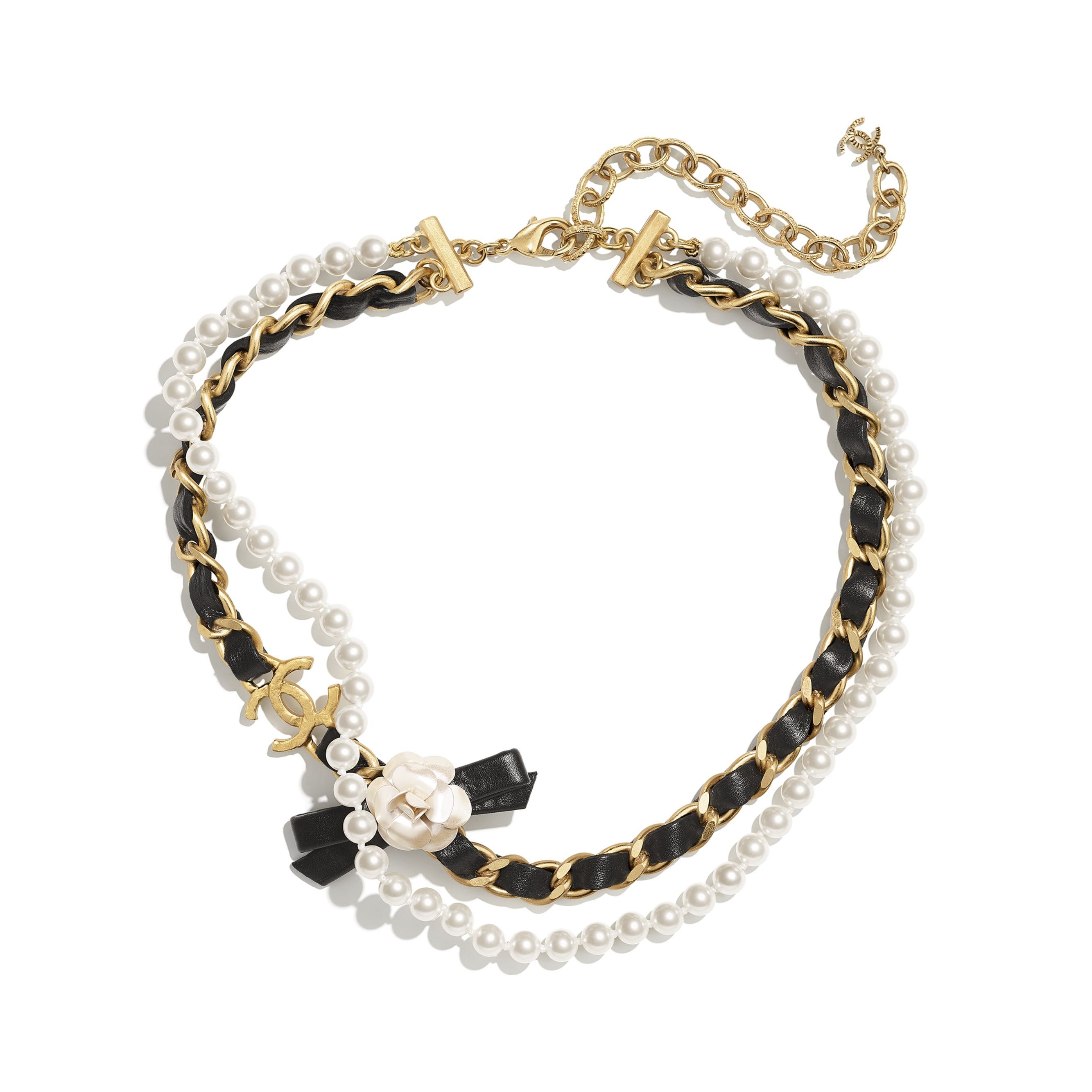Necklace - Gold, Pearly White & Black - Metal, Glass Pearls & Calfskin - CHANEL - Alternative view - see standard sized version