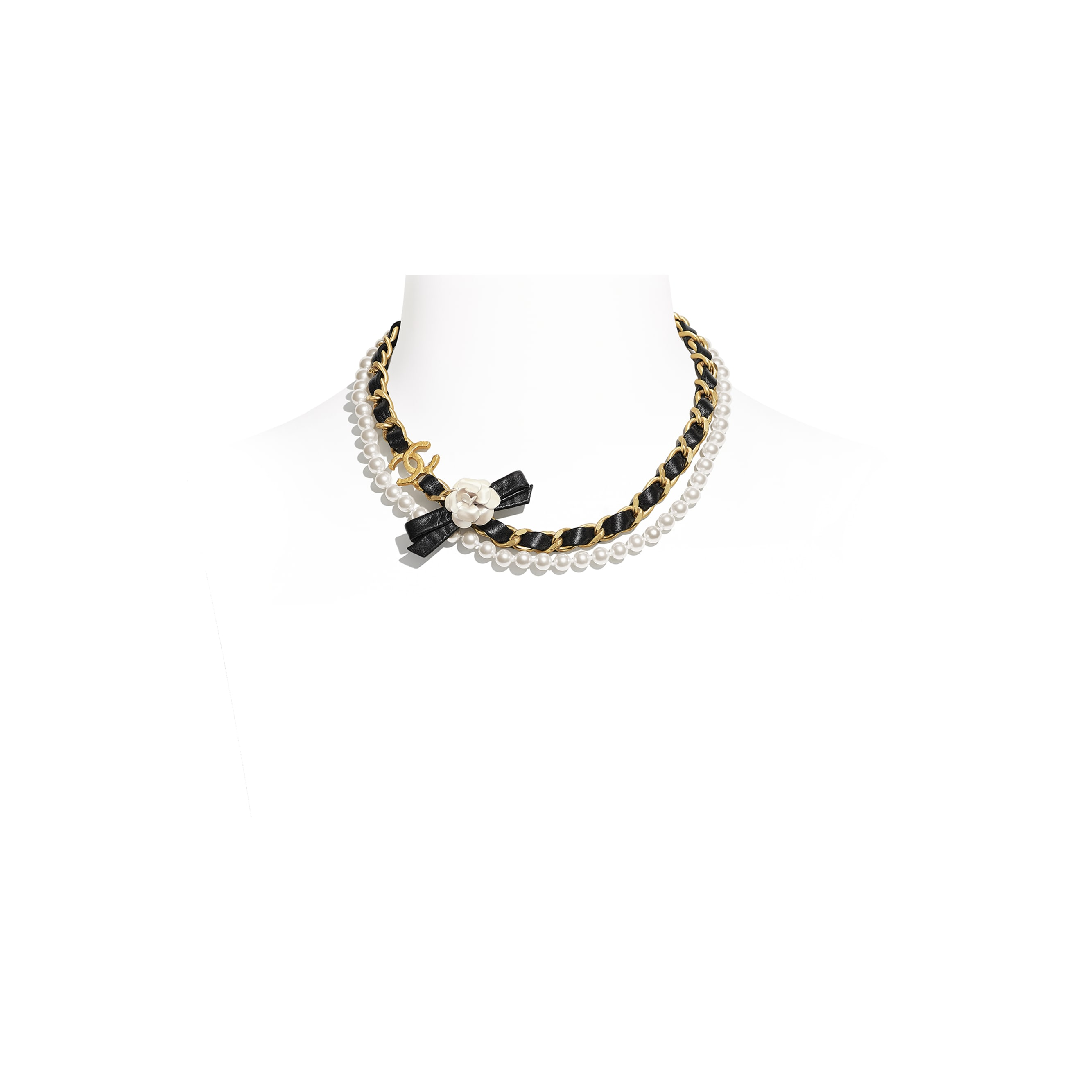 Necklace - Gold, Pearly White & Black - Metal, Glass Pearls & Calfskin - CHANEL - Default view - see standard sized version