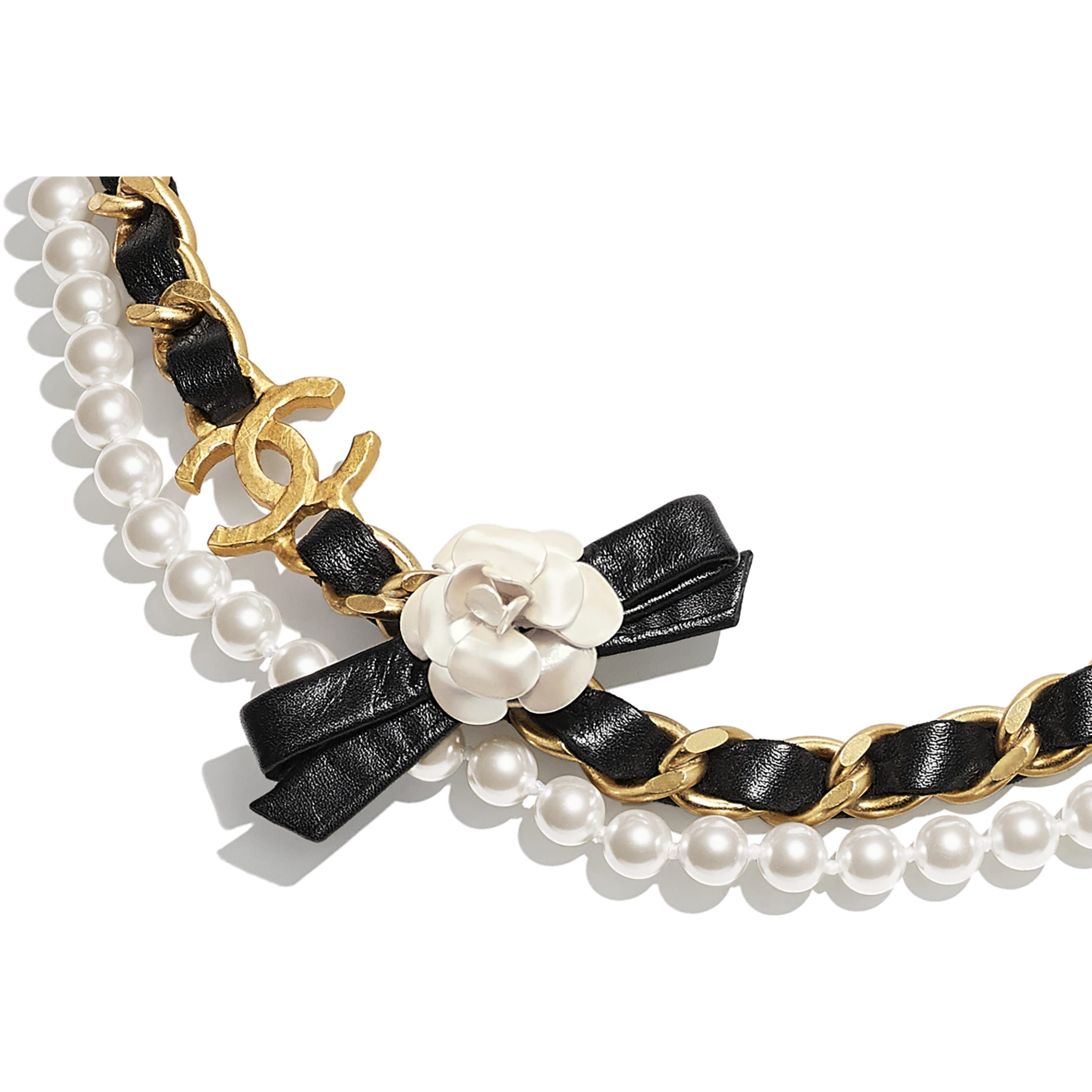 Necklace - Gold, Pearly White & Black - Metal, Glass Pearls & Calfskin - CHANEL - Other view - see standard sized version