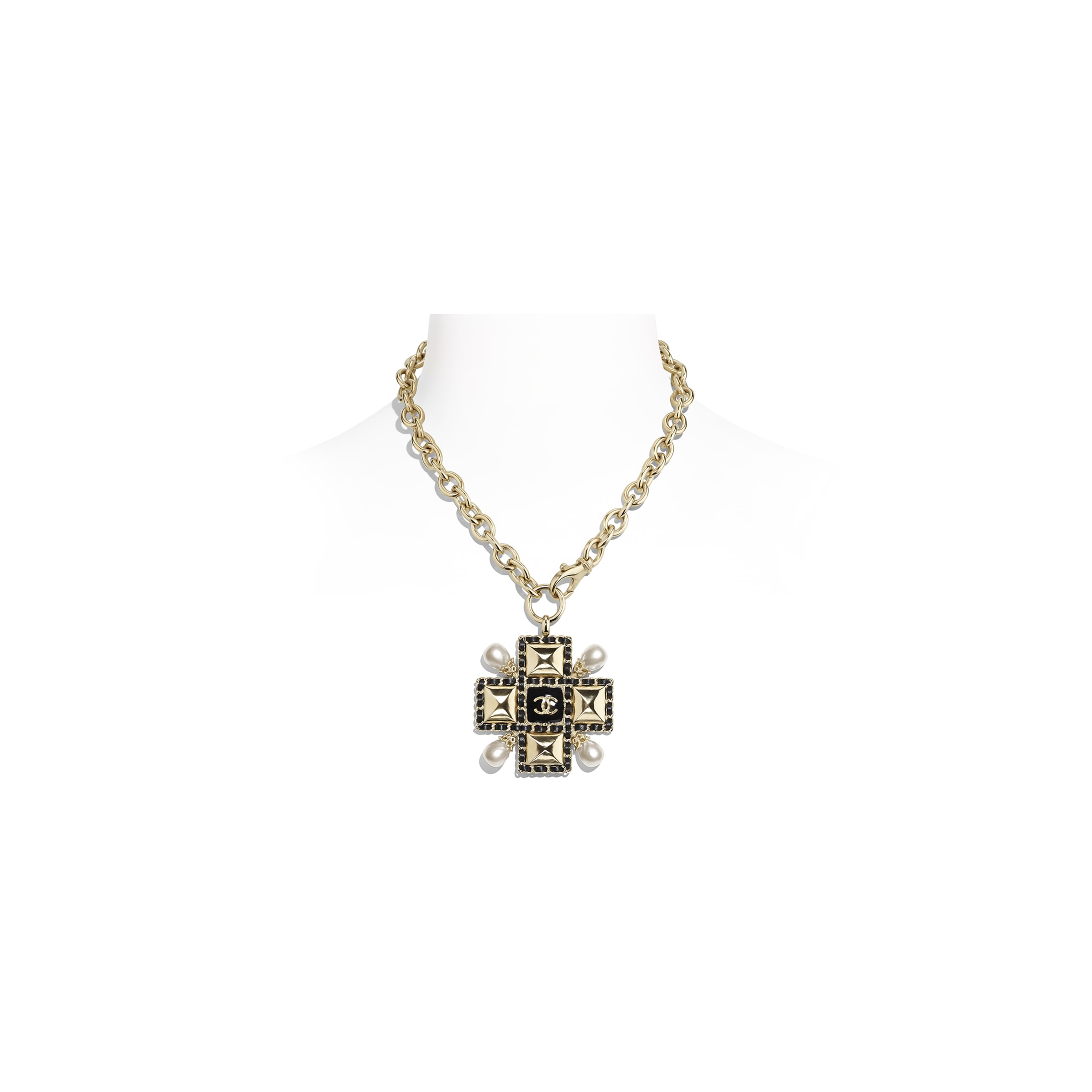 Necklace - Gold, Pearly White & Black - Metal, Imitation Pearls, Lambskin & Resin - Default view - see standard sized version