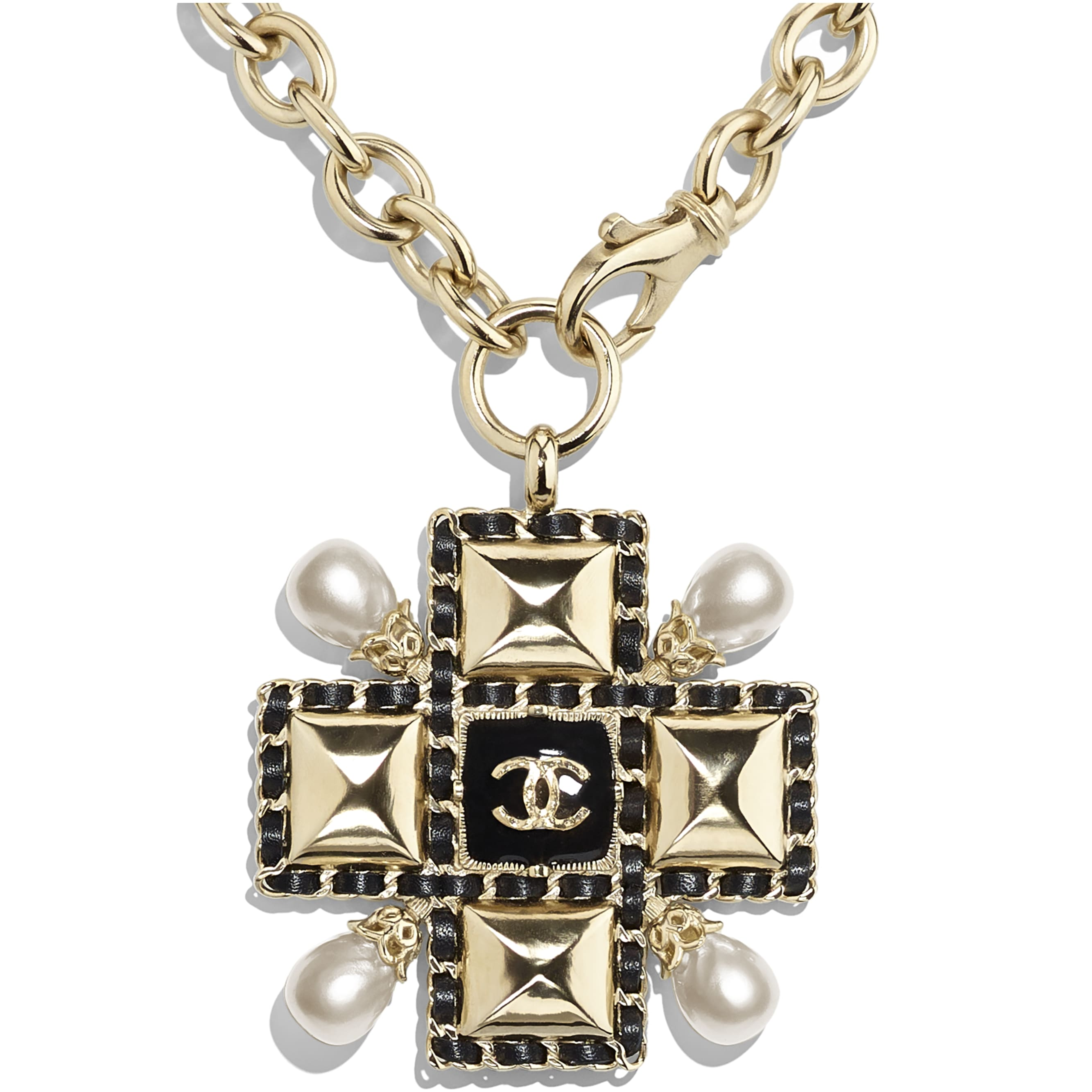 Necklace - Gold, Pearly White & Black - Metal, Imitation Pearls, Lambskin & Resin - CHANEL - Other view - see standard sized version