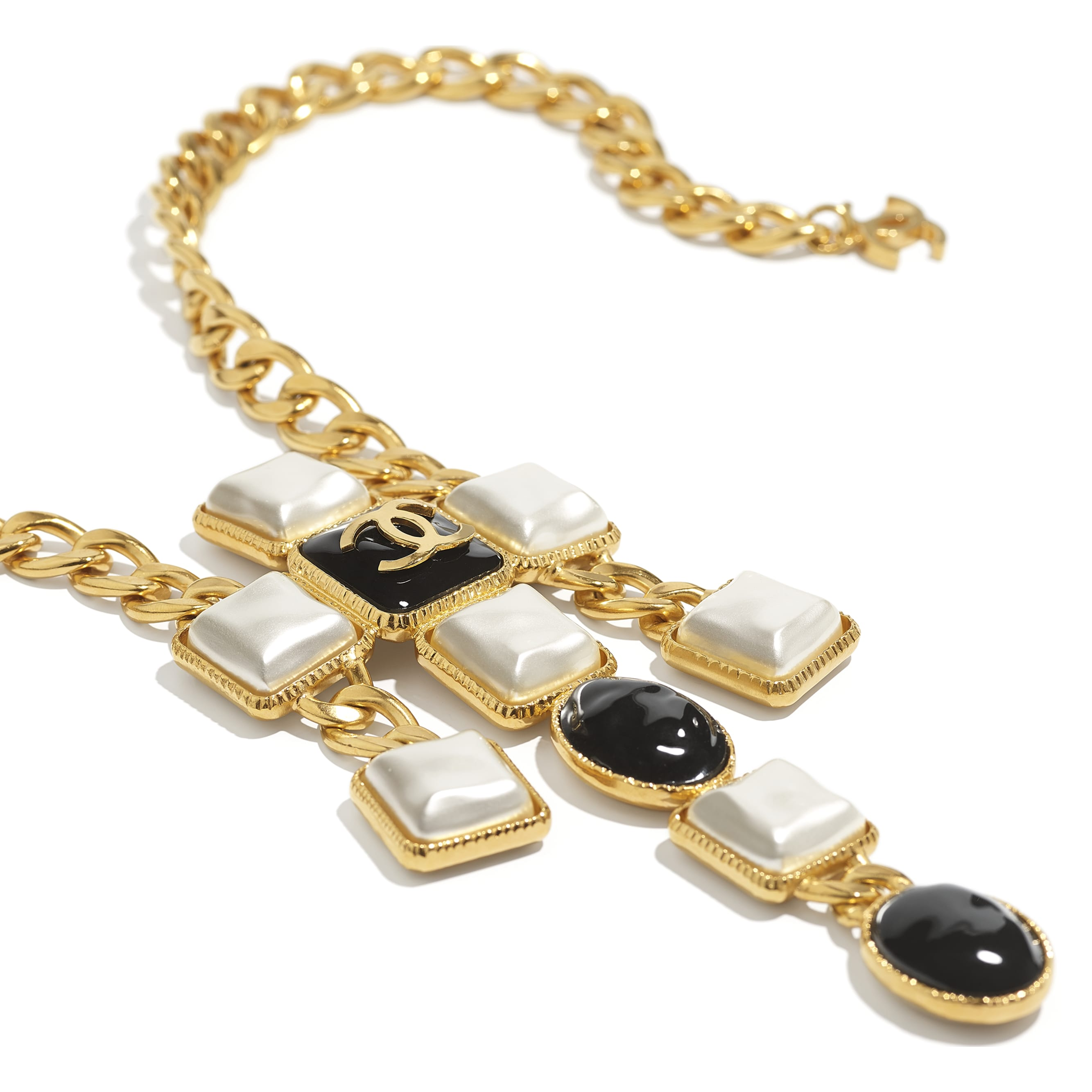 Necklace - Gold, Pearly White & Black - Metal & Resin - CHANEL - Alternative view - see standard sized version