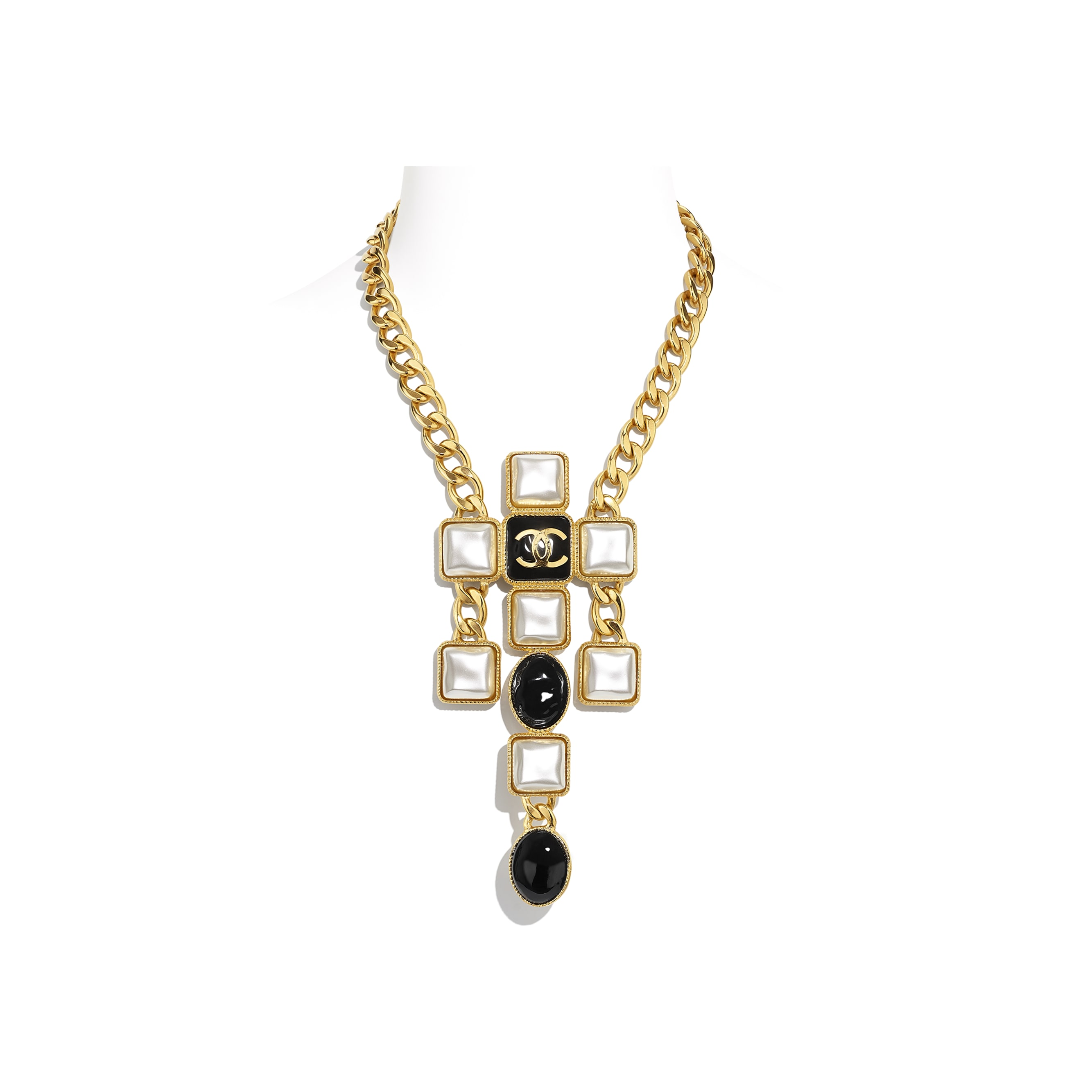 Necklace - Gold, Pearly White & Black - Metal & Resin - CHANEL - Default view - see standard sized version