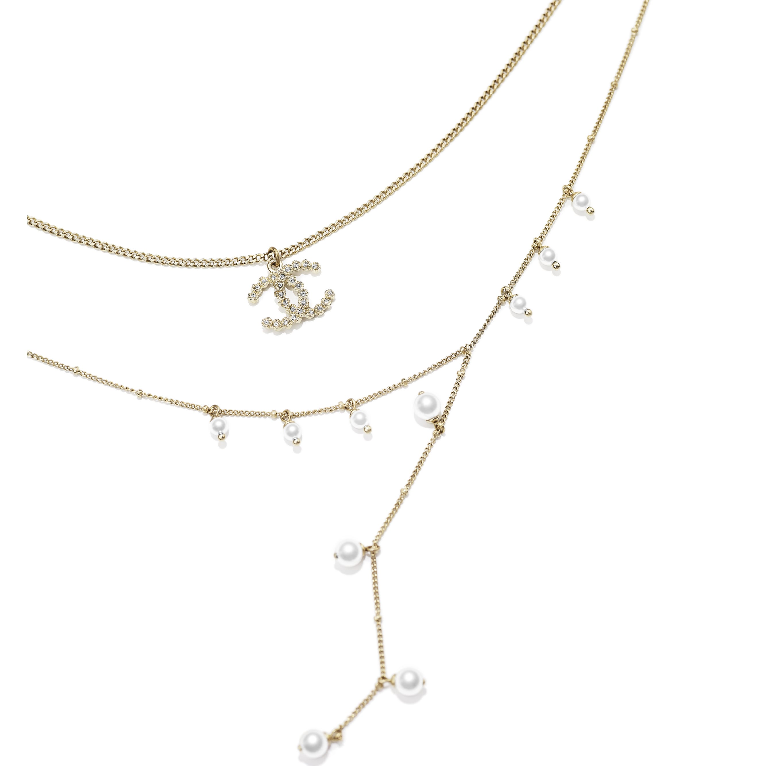 Necklace - Gold, Pearly White, Crystal & Black - Metal, Glass Pearls, Strass & Calfskin - Alternative view - see standard sized version