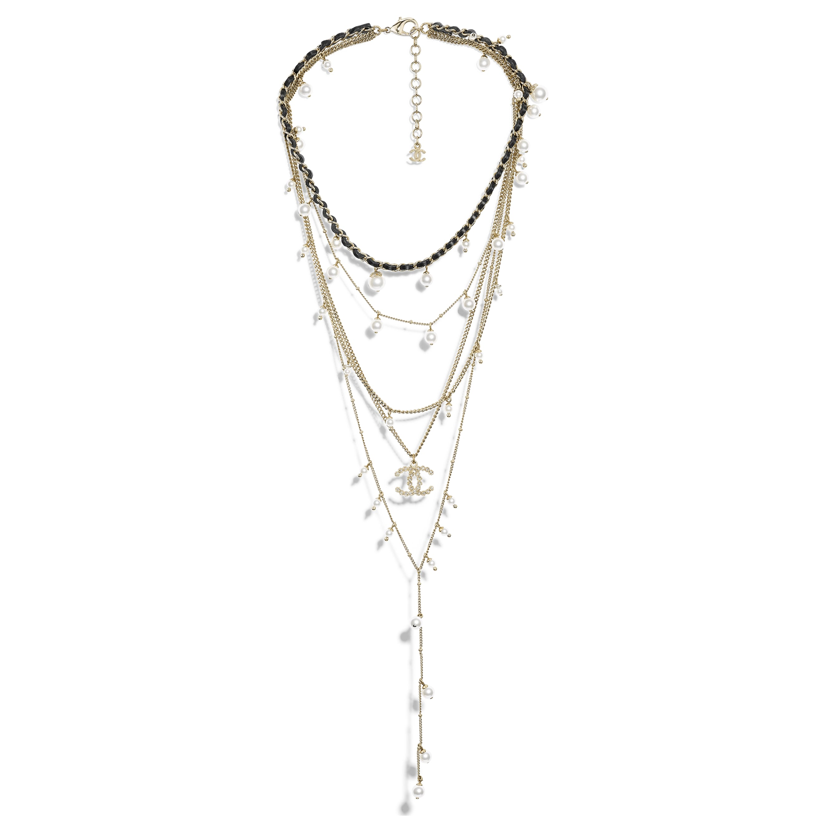 Necklace - Gold, Pearly White, Crystal & Black - Metal, Glass Pearls, Strass & Calfskin - Default view - see standard sized version