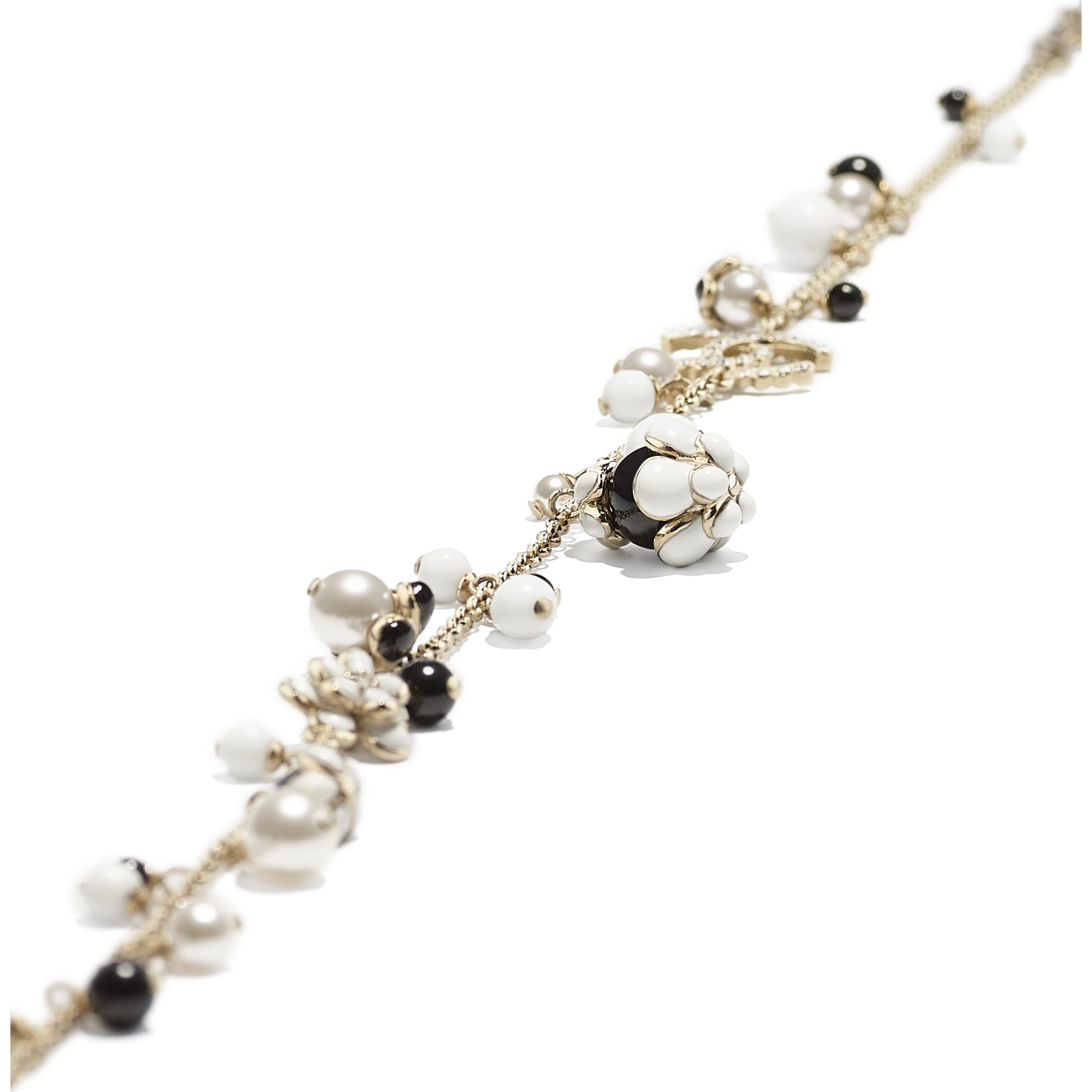 Necklace - Gold, Pearly White, Crystal, Black & White - Metal, Glass Pearls, Diamanté & Resin - CHANEL - Alternative view - see standard sized version