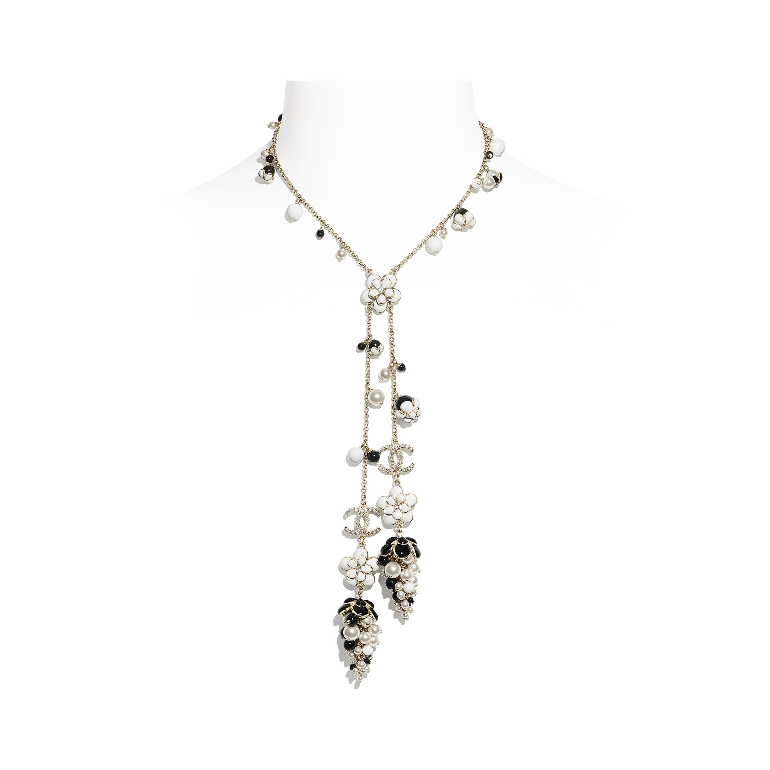 Necklace - Gold, Pearly White, Crystal, Black & White - Metal, Glass Pearls, Diamanté & Resin - CHANEL - Default view - see standard sized version