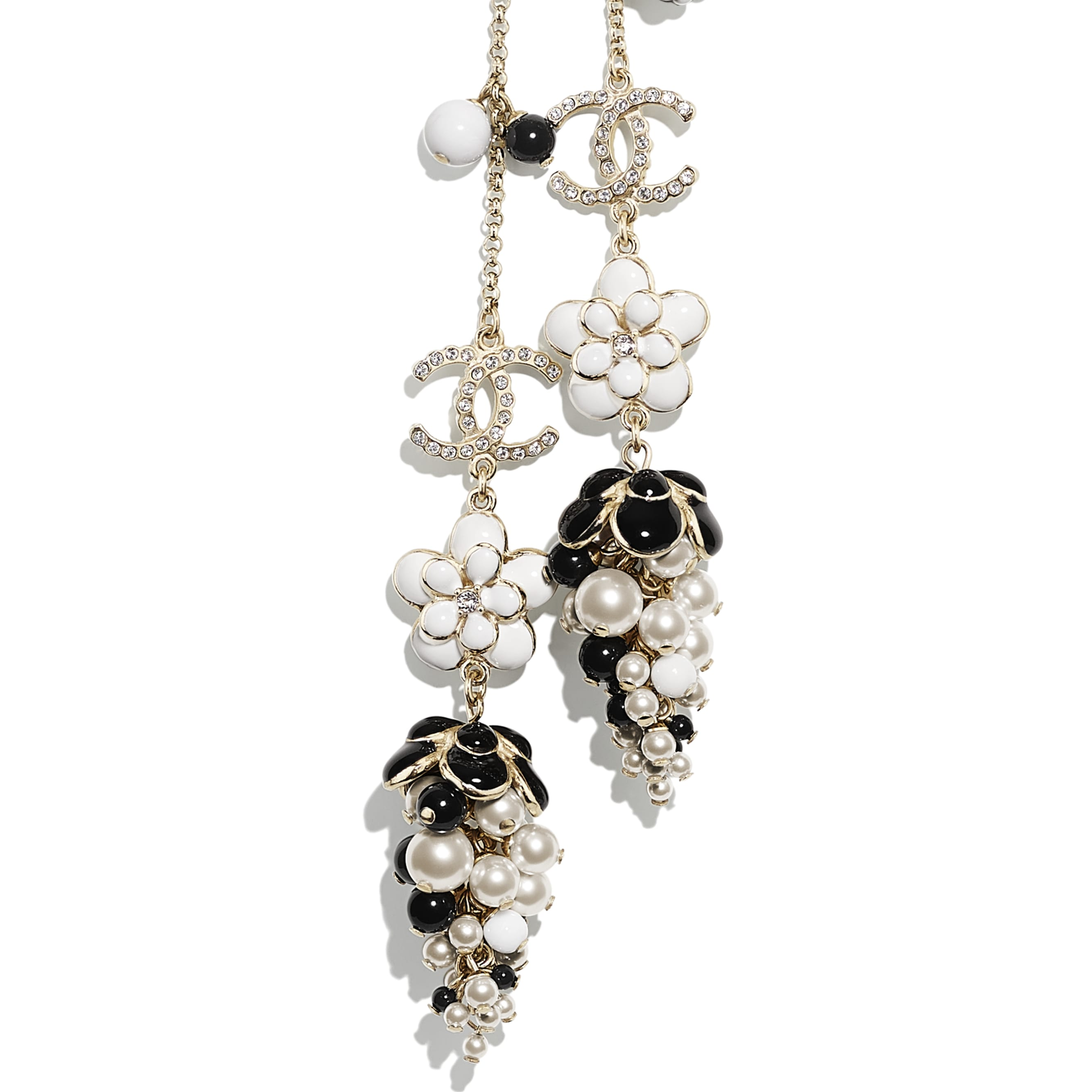 Necklace - Gold, Pearly White, Crystal, Black & White - Metal, Glass Pearls, Diamanté & Resin - CHANEL - Other view - see standard sized version
