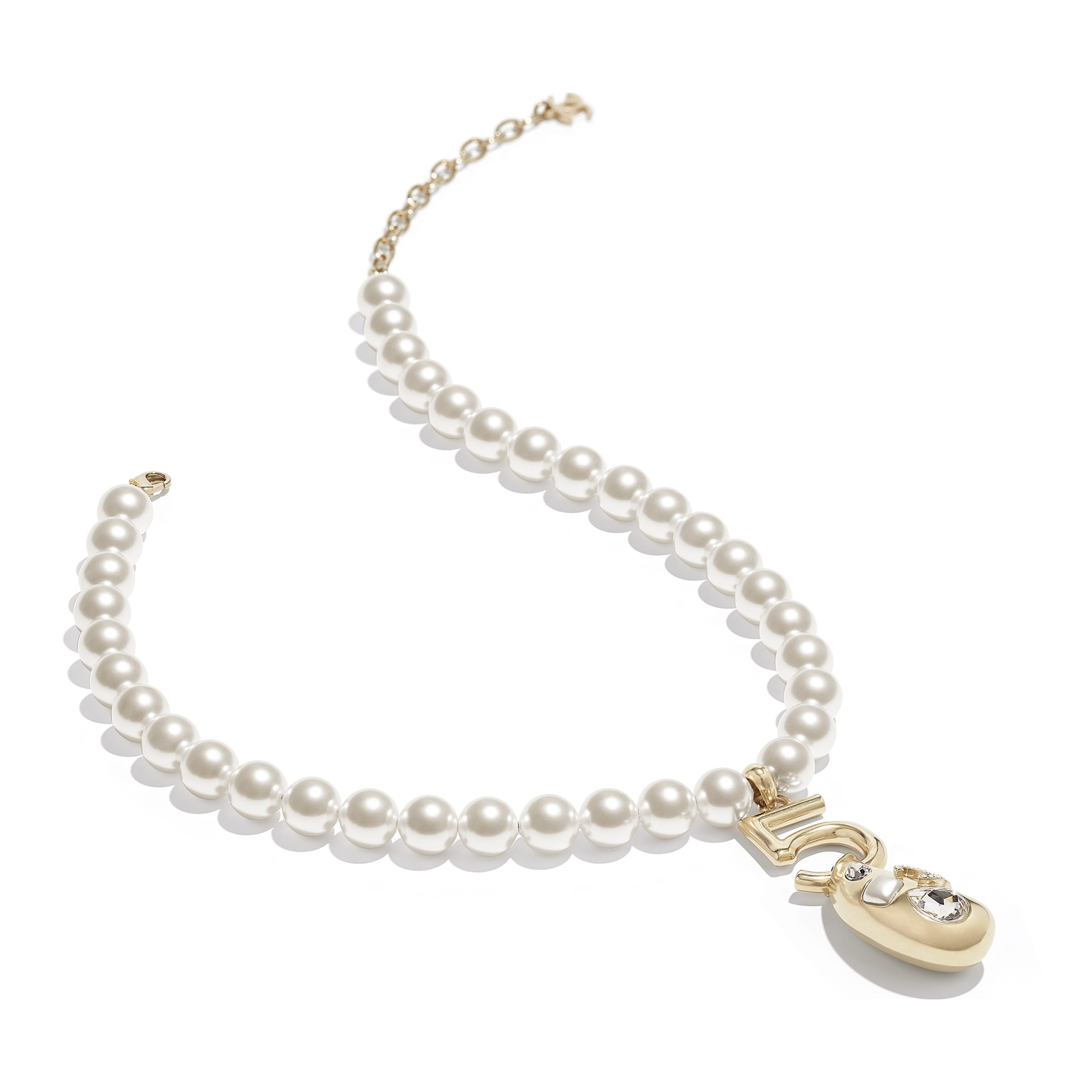 Necklace - Gold, Pearly White & Crystal - Metal, Glass Pearls, Glass & Strass - CHANEL - Alternative view - see standard sized version