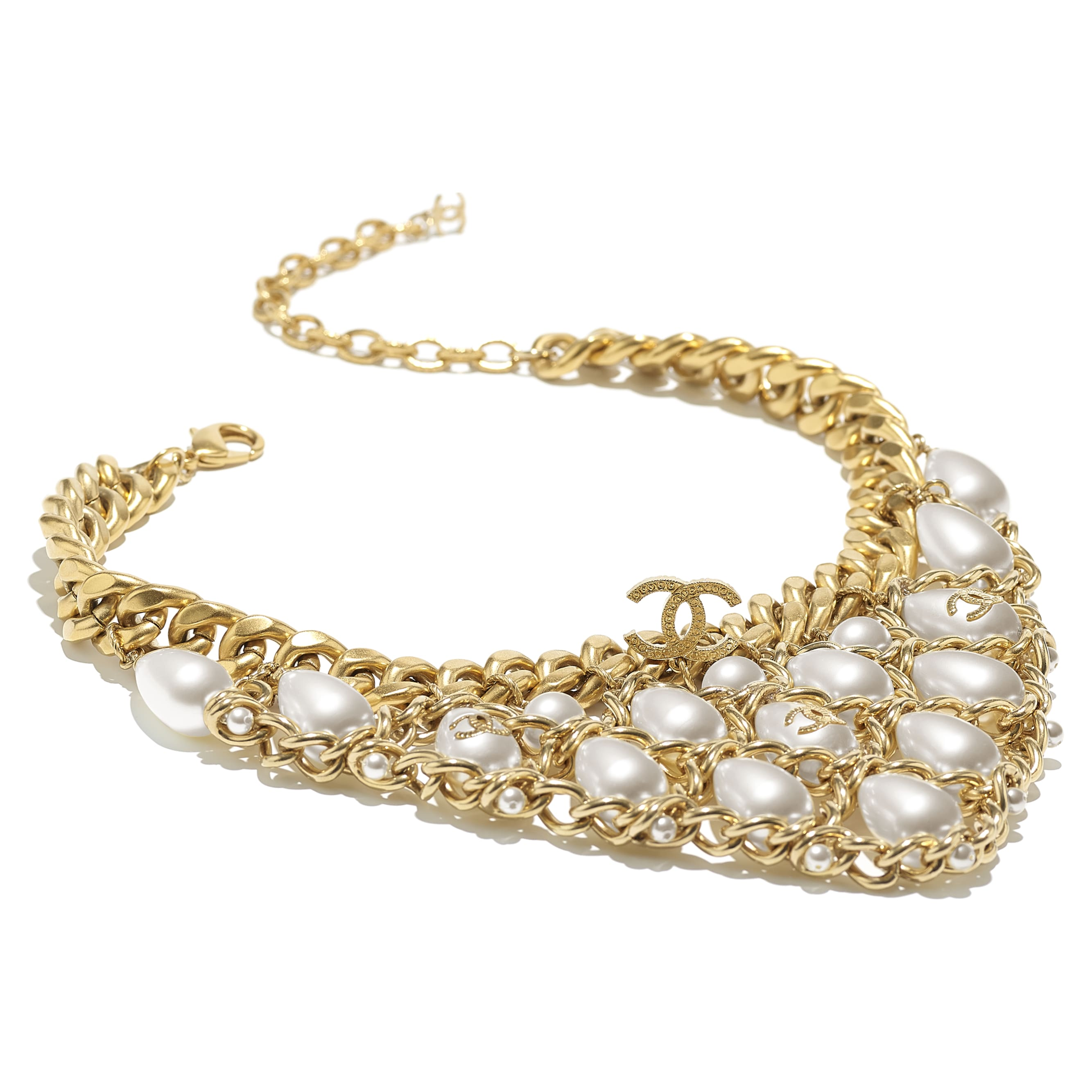 Colar - Gold, Pearly White & Crystal - Metal, Glass Pearls, Imitation Pearls & Strass - CHANEL - Vista alternativa - ver a versão em tamanho standard
