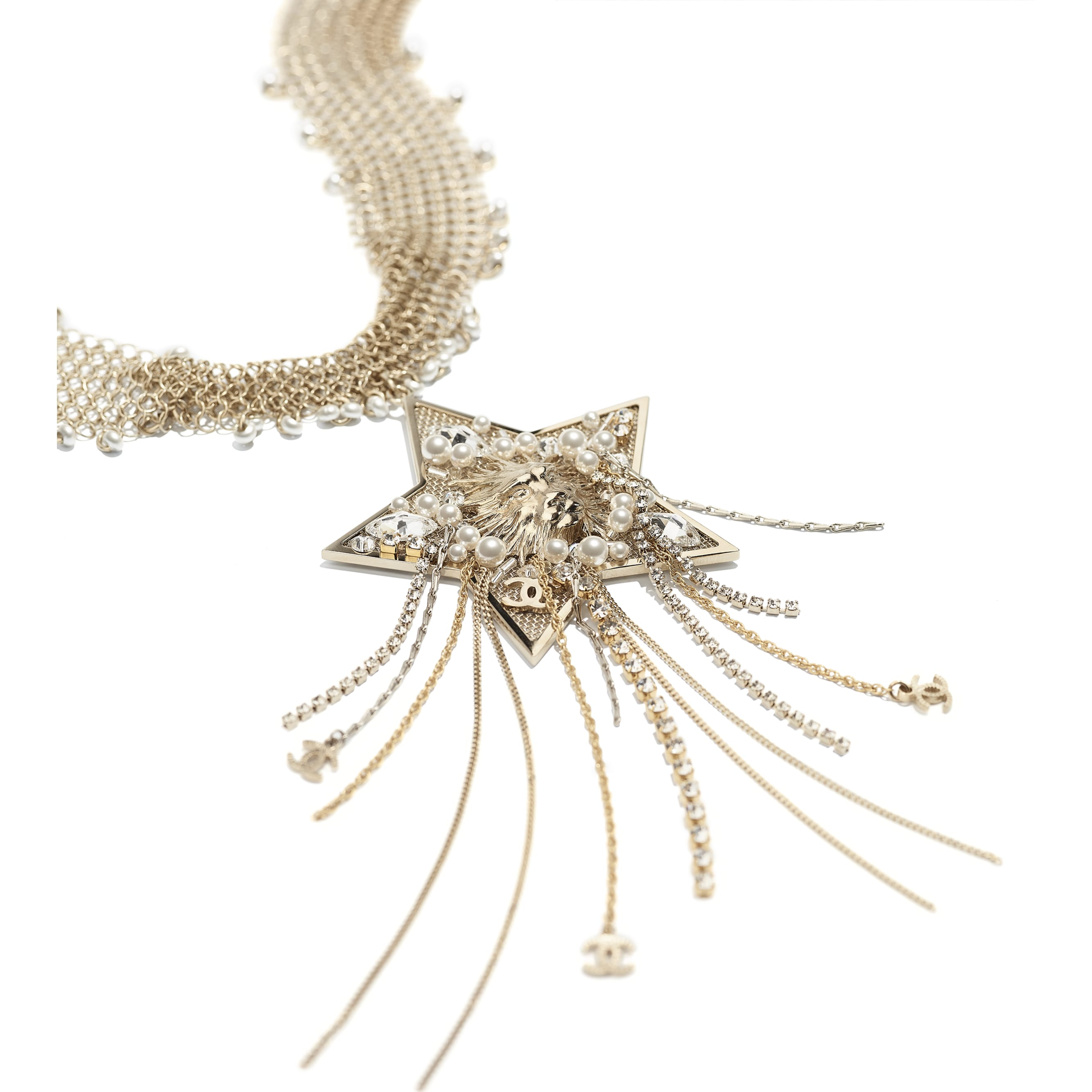 Necklace - Gold, Pearly White & Crystal - Metal, Glass Pearls & Strass - CHANEL - Alternative view - see standard sized version