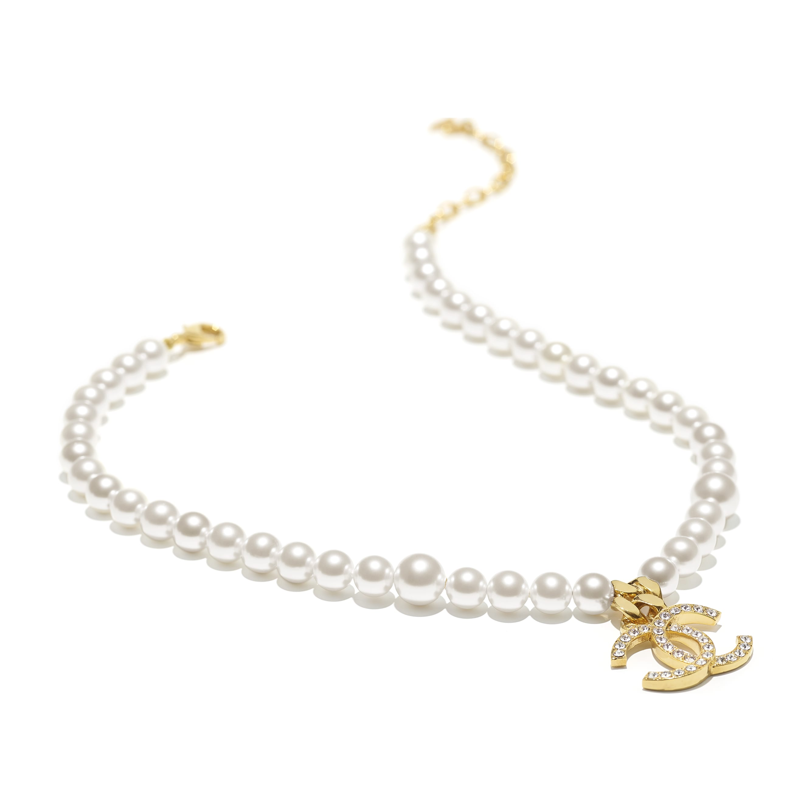 Necklace - Gold, Pearly White & Crystal - Metal, Glass Pearls & Diamantés - CHANEL - Alternative view - see standard sized version
