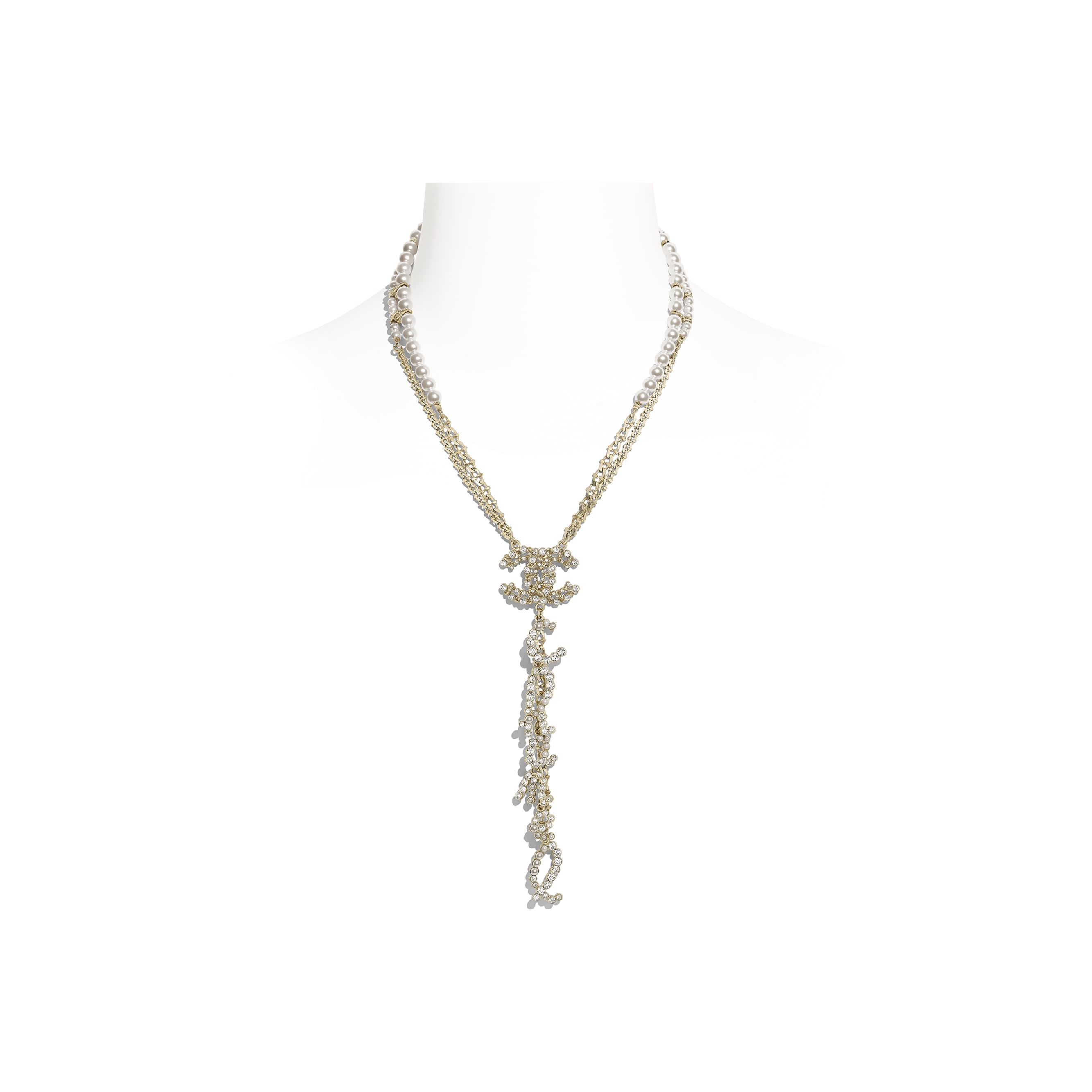 Necklace - Gold, Pearly White & Crystal - Metal, Glass Pearls & Diamantés - Default view - see standard sized version