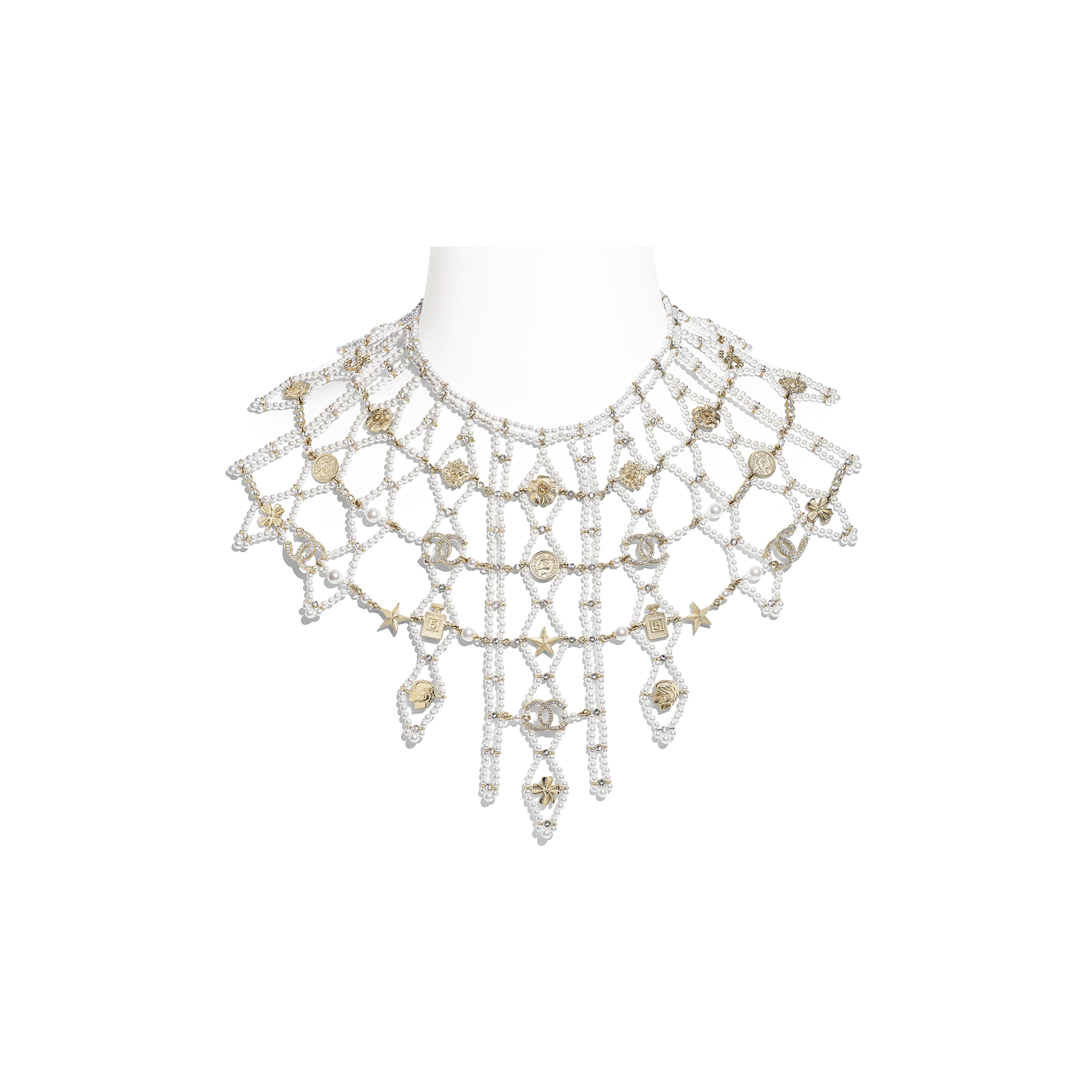 Necklace - Gold, Pearly White & Crystal - Metal, Glass Pearls & Strass - CHANEL - Default view - see standard sized version