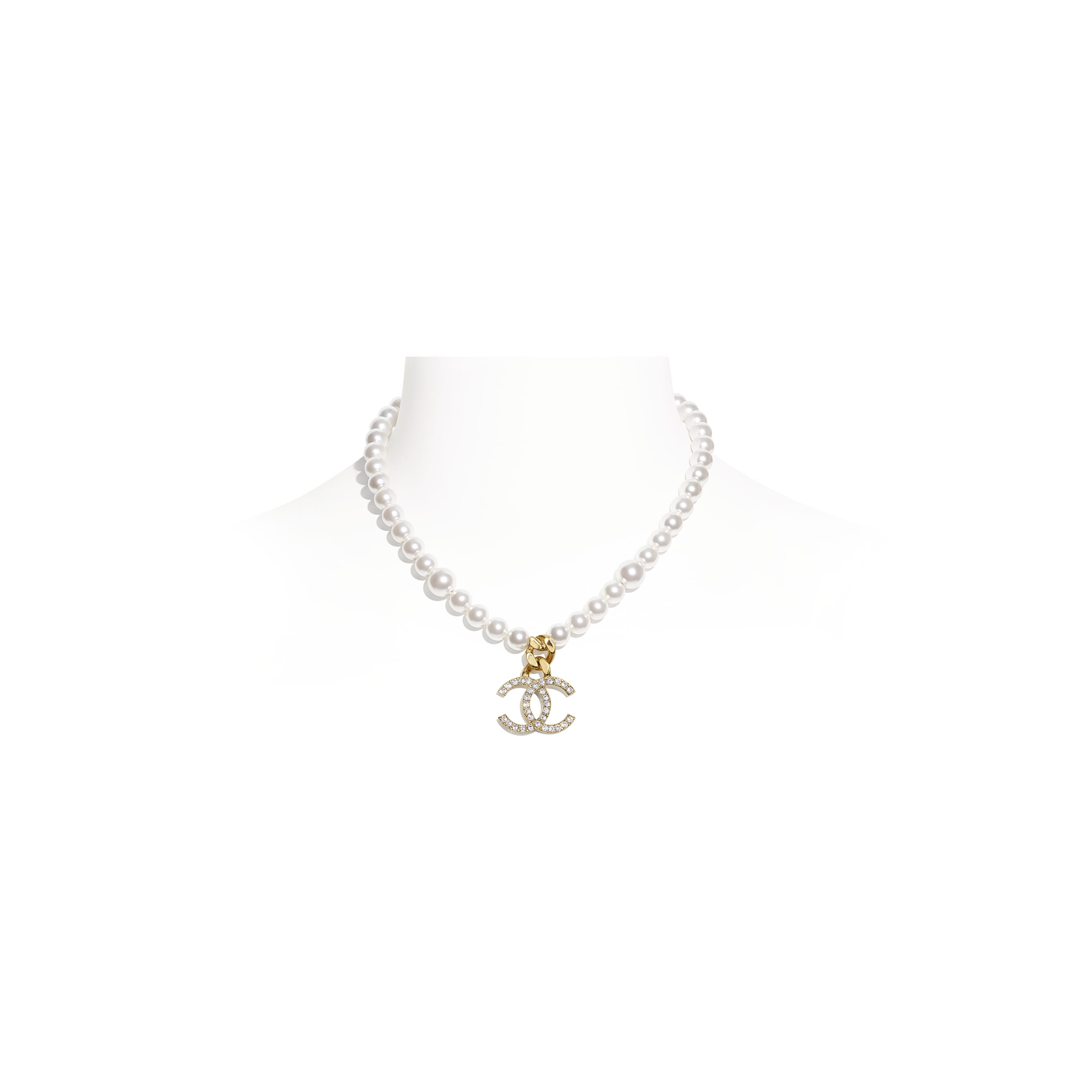 Necklace - Gold, Pearly White & Crystal - Metal, Glass Pearls & Diamantés - CHANEL - Default view - see standard sized version