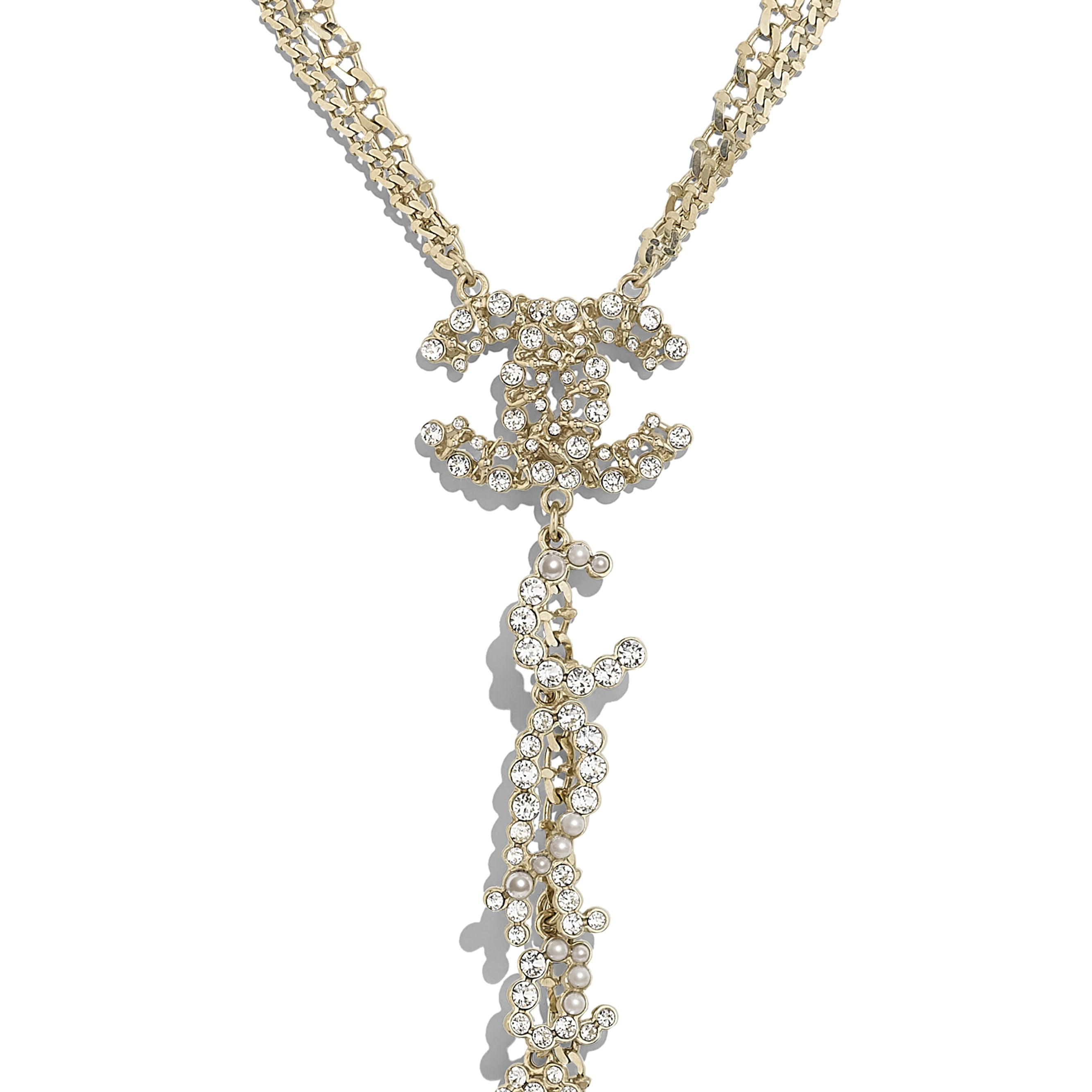 Necklace - Gold, Pearly White & Crystal - Metal, Glass Pearls & Diamantés - Other view - see standard sized version