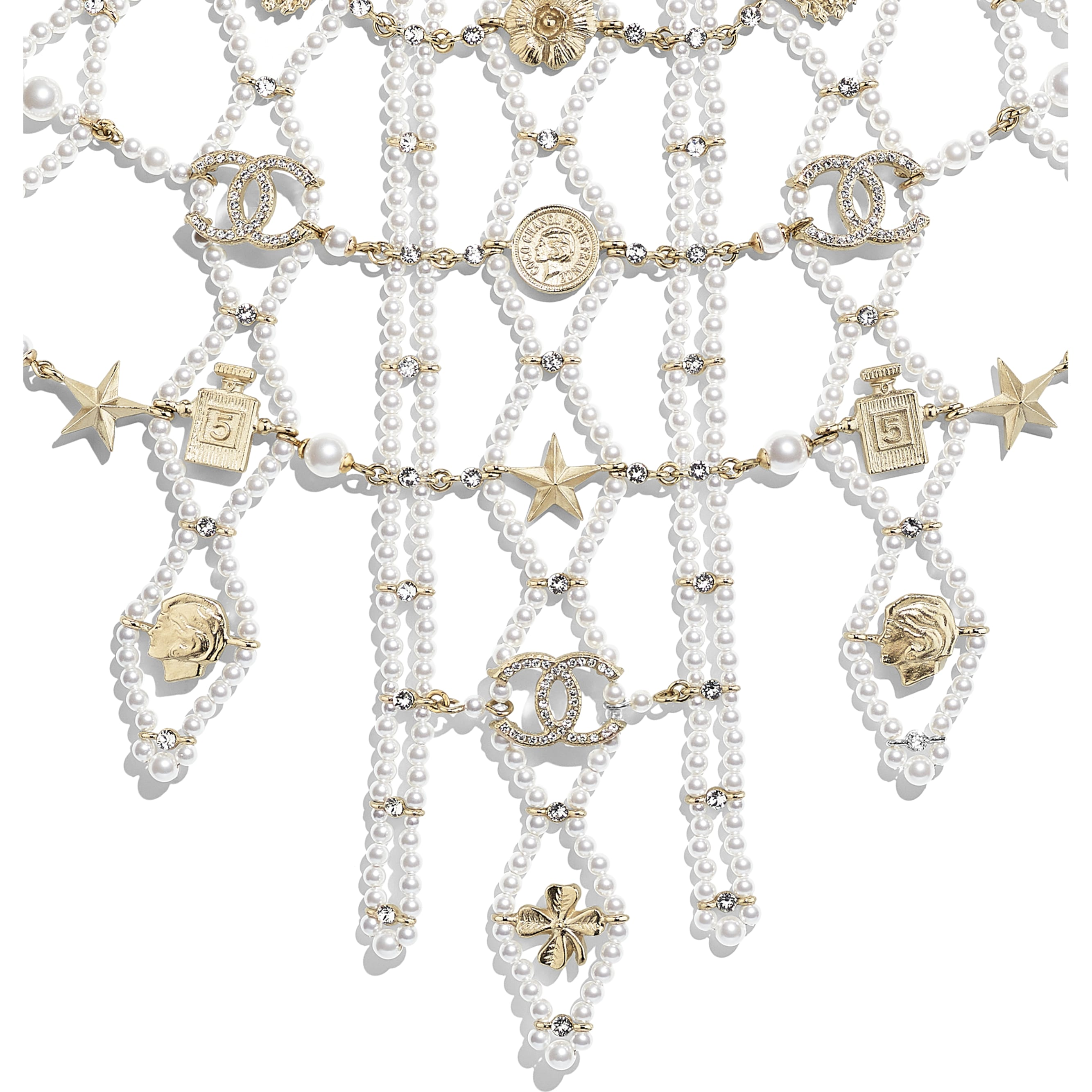 Necklace - Gold, Pearly White & Crystal - Metal, Glass Pearls & Strass - CHANEL - Other view - see standard sized version