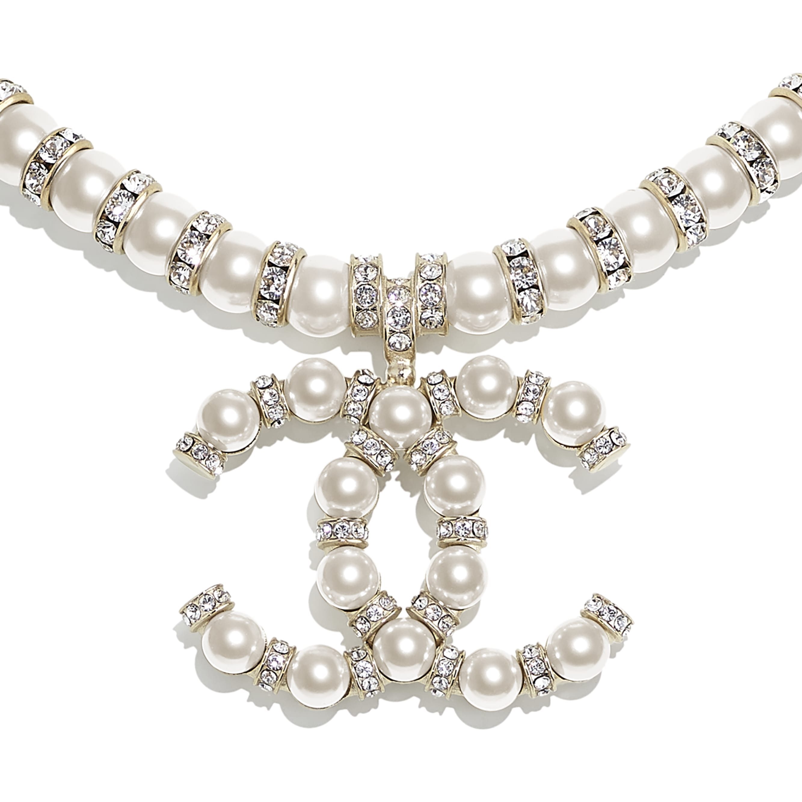 Necklace - Gold, Pearly White & Crystal - Metal, Glass Pearls & Diamantés - CHANEL - Other view - see standard sized version