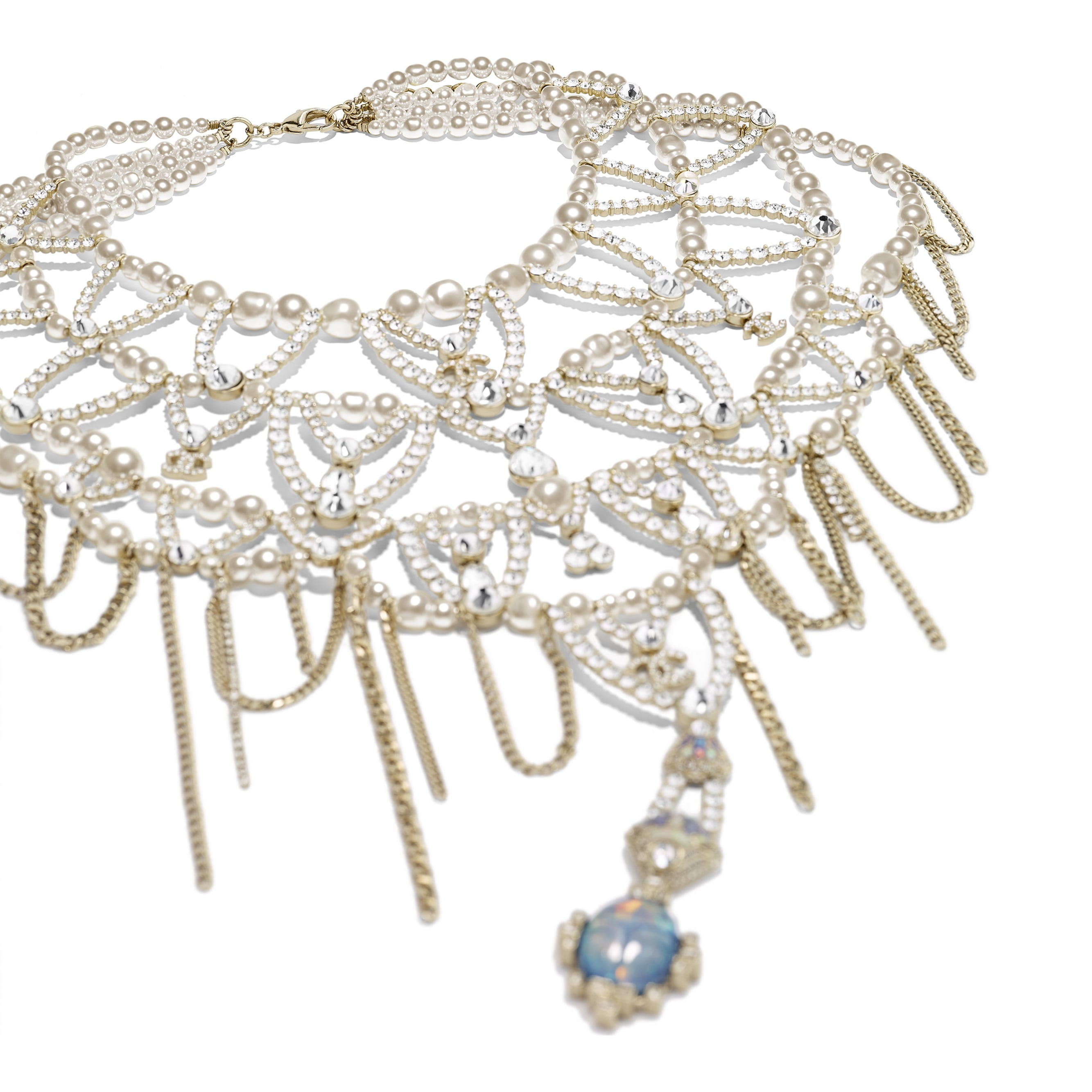Necklace - Gold, Pearly White & Crystal - Metal, Glass Pearls, Strass & Resin - Alternative view - see standard sized version