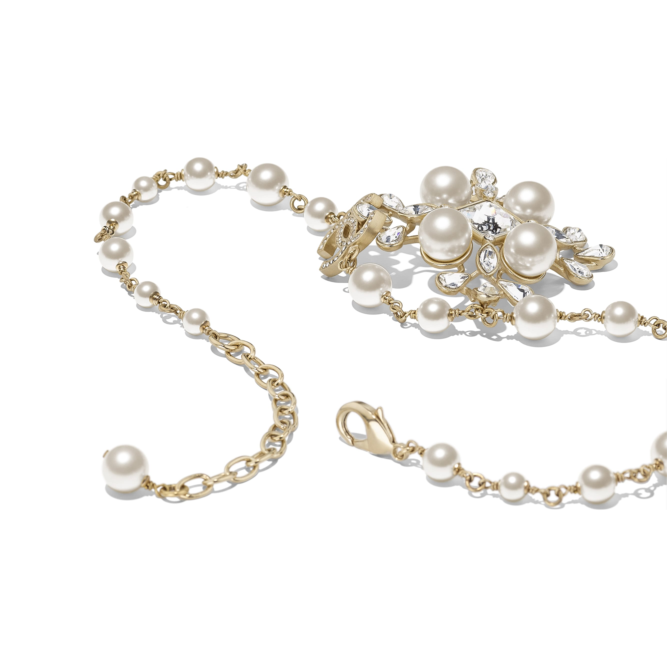 Necklace - Gold, Pearly White & Crystal - Metal, Glass Pearls, Diamanté & Resin - Alternative view - see standard sized version