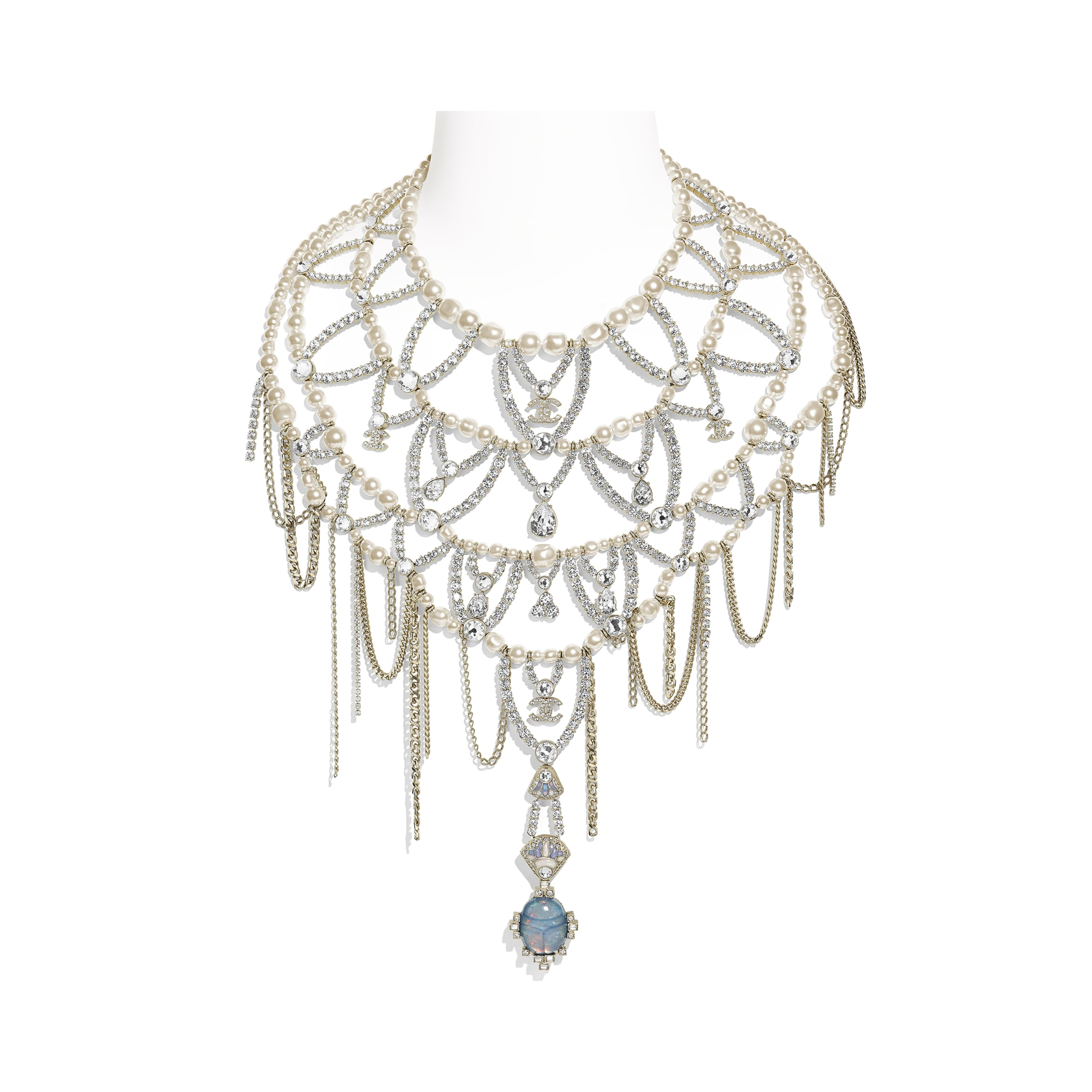 Necklace - Gold, Pearly White & Crystal - Metal, Glass Pearls, Strass & Resin - Default view - see standard sized version