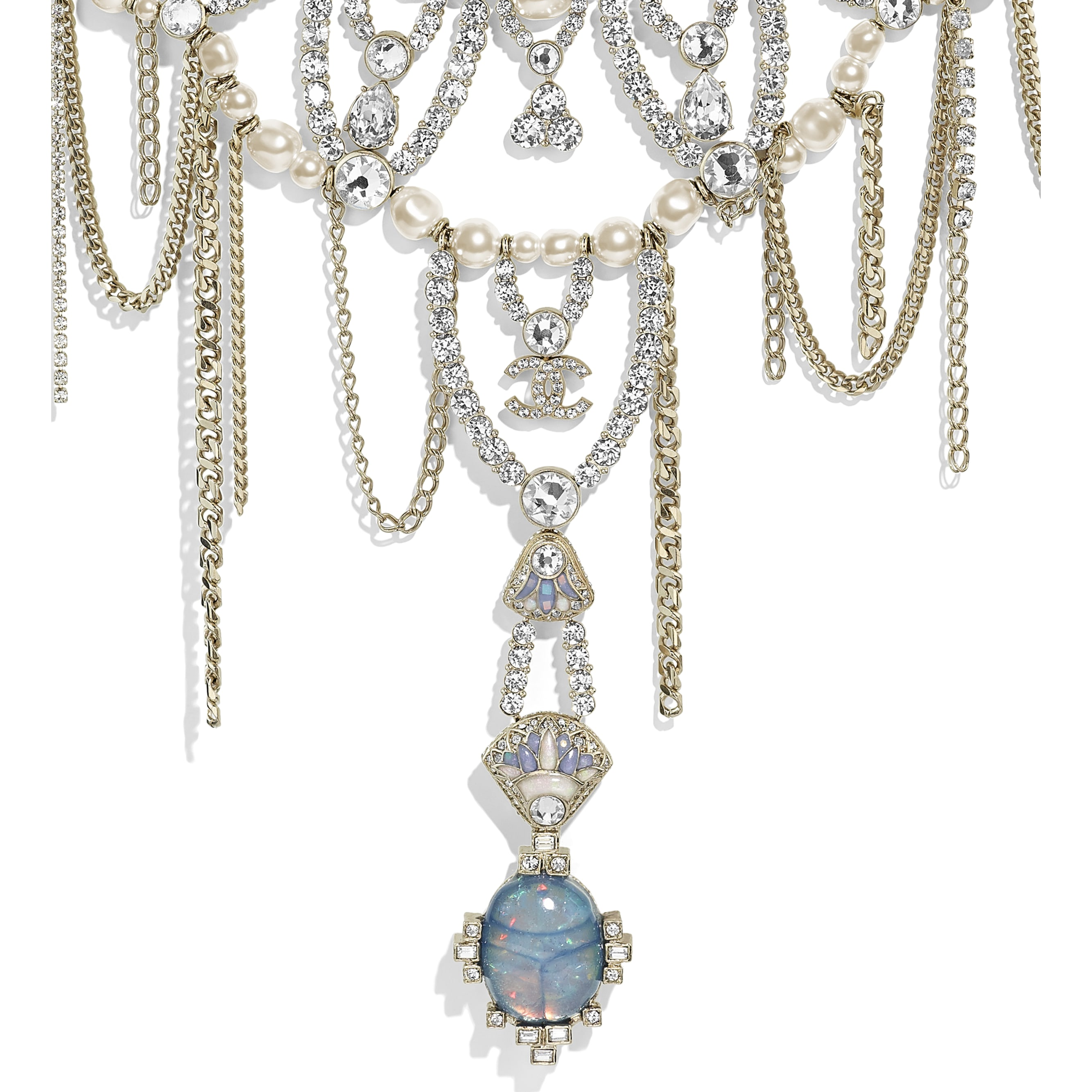 Necklace - Gold, Pearly White & Crystal - Metal, Glass Pearls, Strass & Resin - Other view - see standard sized version