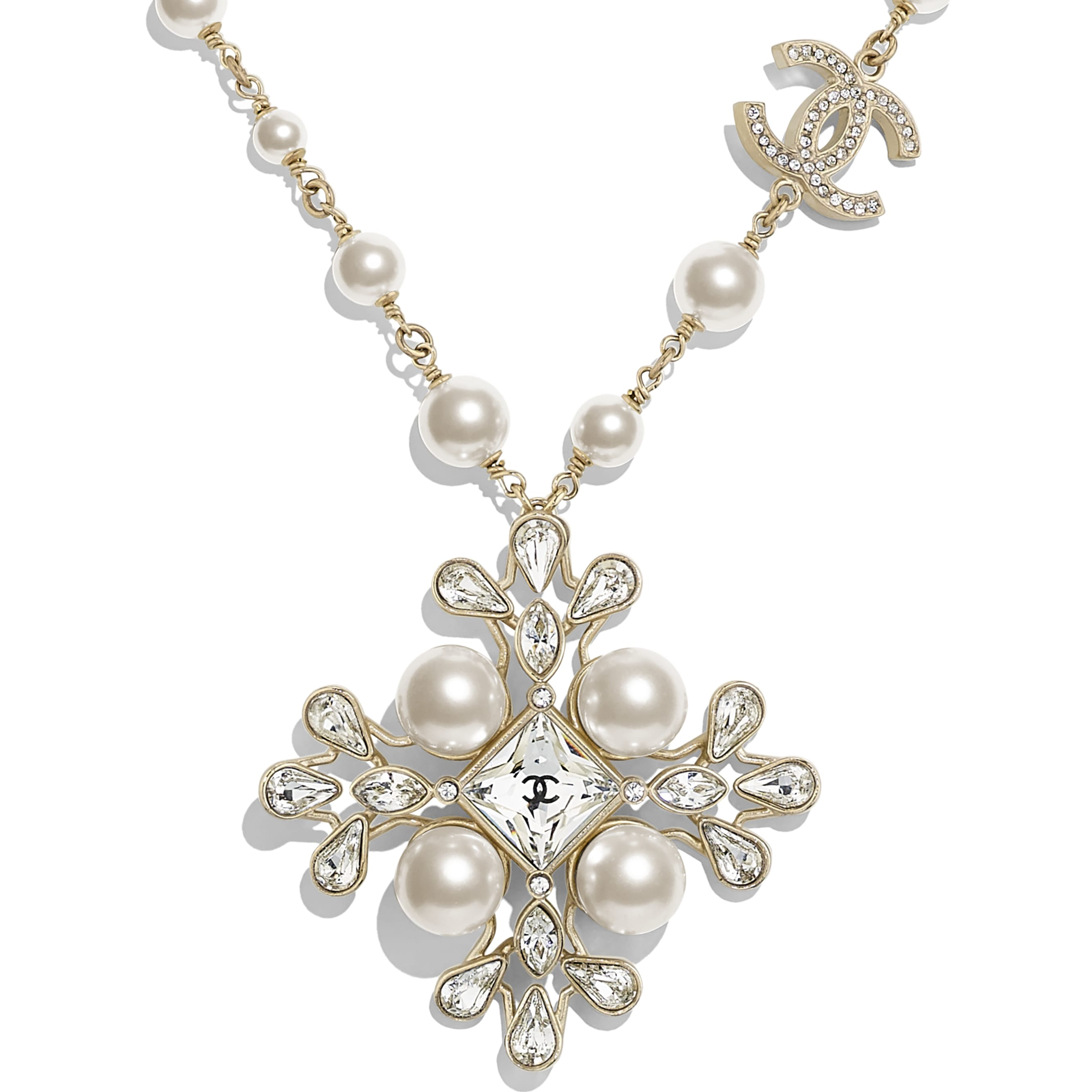 Necklace - Gold, Pearly White & Crystal - Metal, Glass Pearls, Diamanté & Resin - Other view - see standard sized version