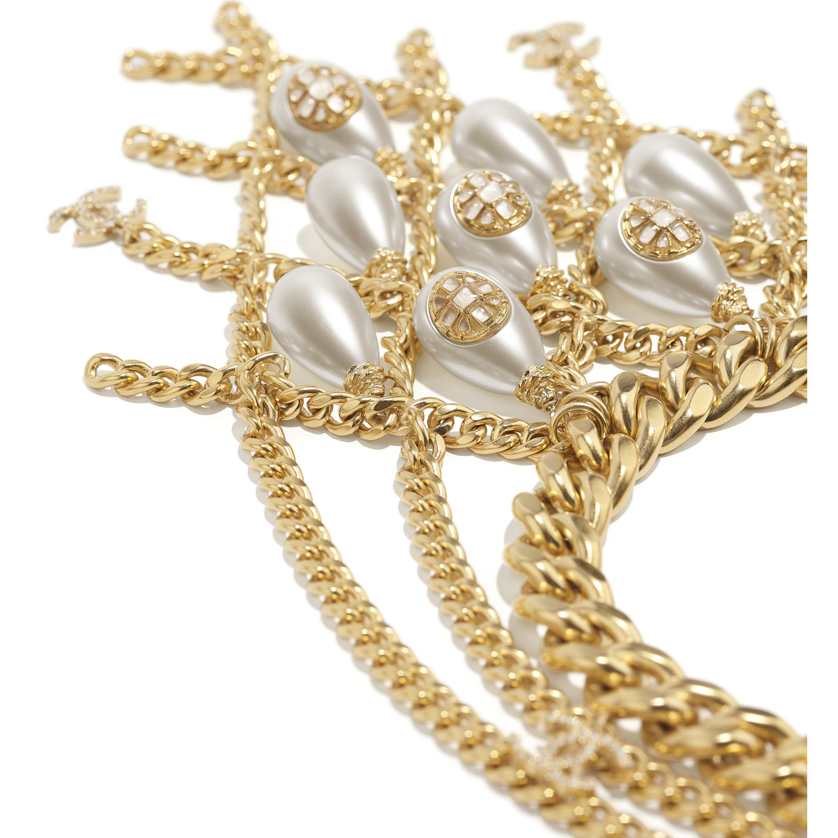 Necklace - Gold, Pearly White & Crystal - Metal, imitation pearls, diamanté  & resin - CHANEL - Alternative view - see standard sized version