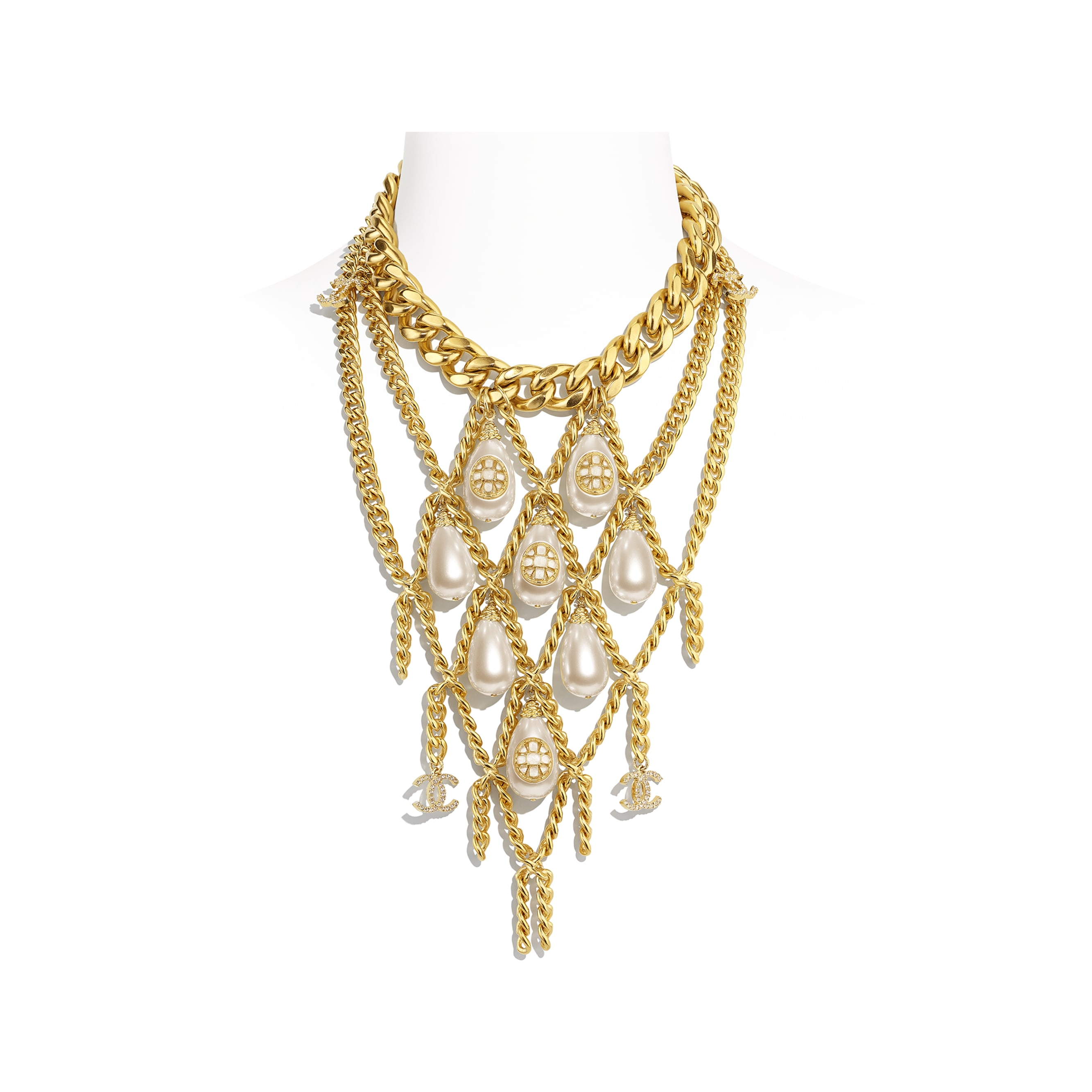 Necklace - Gold, Pearly White & Crystal - Metal, imitation pearls, diamanté  & resin - CHANEL - Default view - see standard sized version