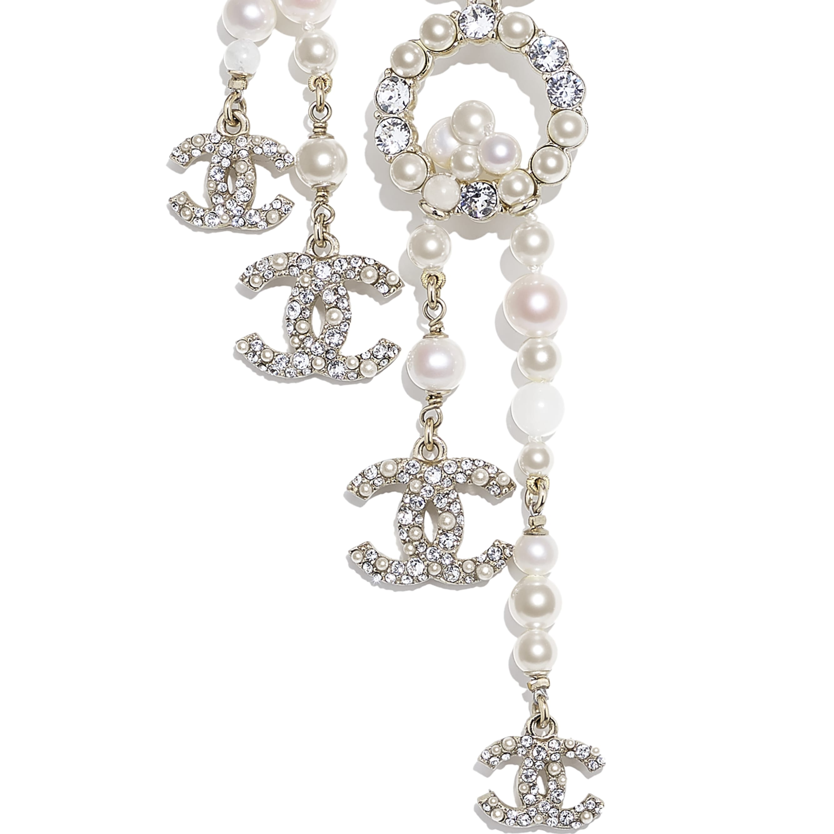 Necklace - Gold, Pearly White & Crystal - Metal, Natural Stones, Cultured Freshwater Pearls, Glass Pearls & Diamanté  - CHANEL - Other view - see standard sized version