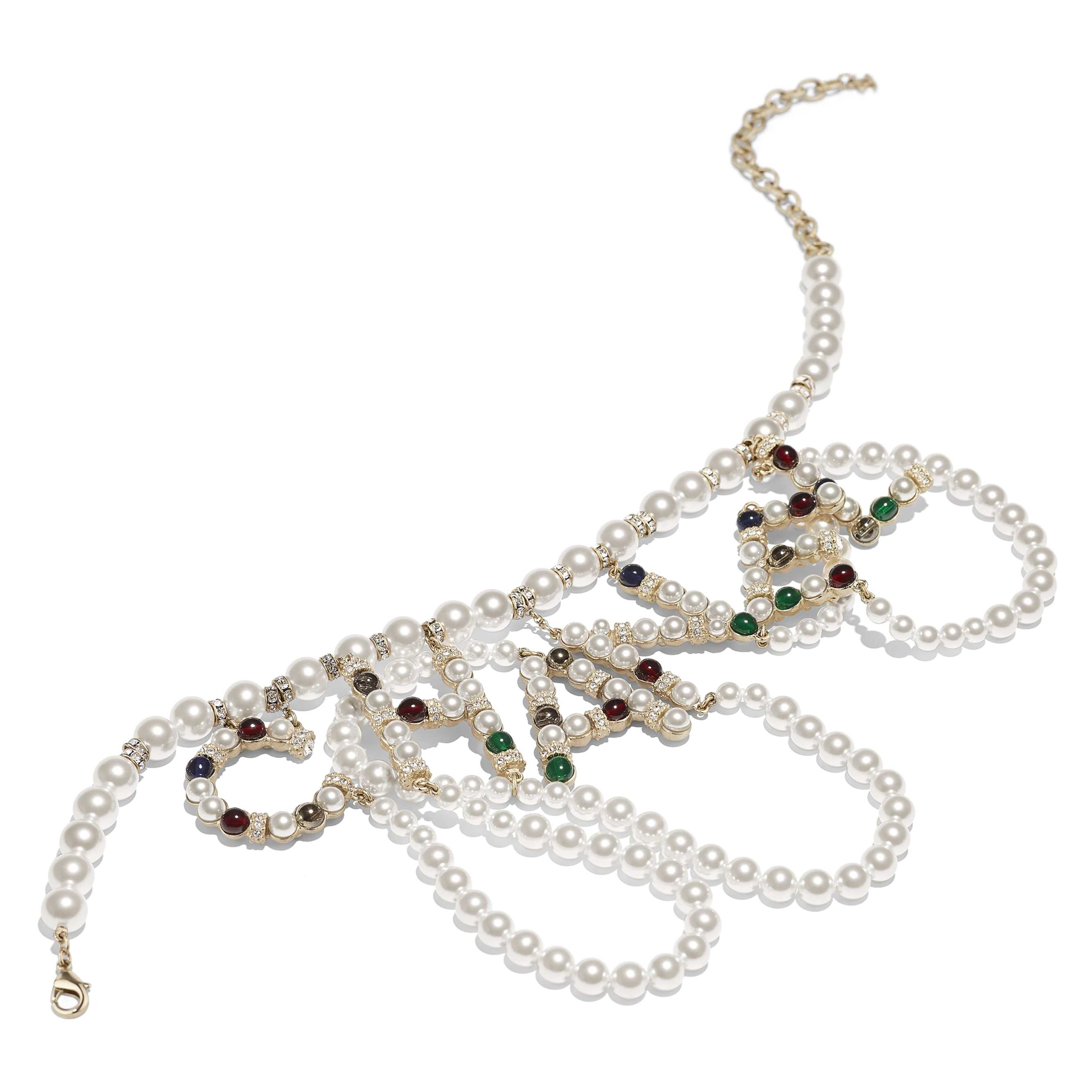 Necklace - Gold, Pearly White, Multicolour & Crystal - Metal, Glass Pearls & Diamantés - Alternative view - see standard sized version